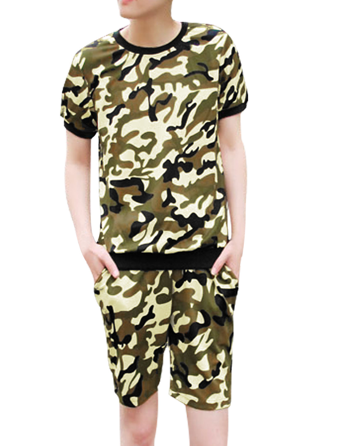 Men Camouflage Pattern Top w Ribbed Waist Shorts Beige Black S