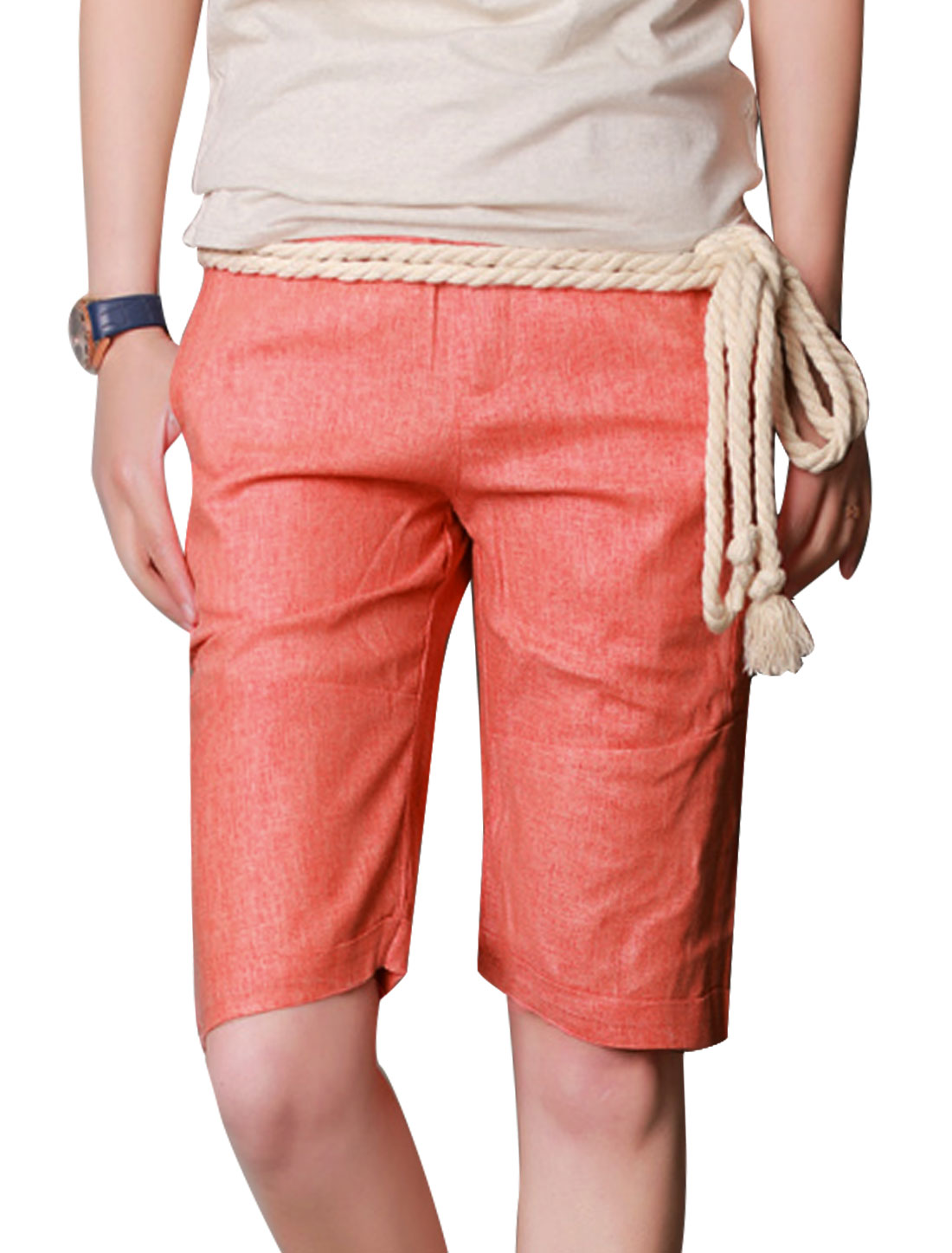 Men Double Pockets Front Cuffed Casual Linen Shorts w Rope Strap Salmon W30