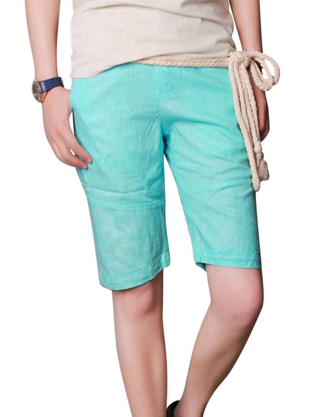 Men Flap Pockets Back Cuffed Casual Linen Shorts w Rope Strap Aqua W30