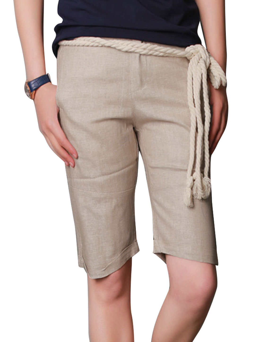 Men Pockets Front Belt Loop Chic Linen Shorts w Rope Strap Beige W30