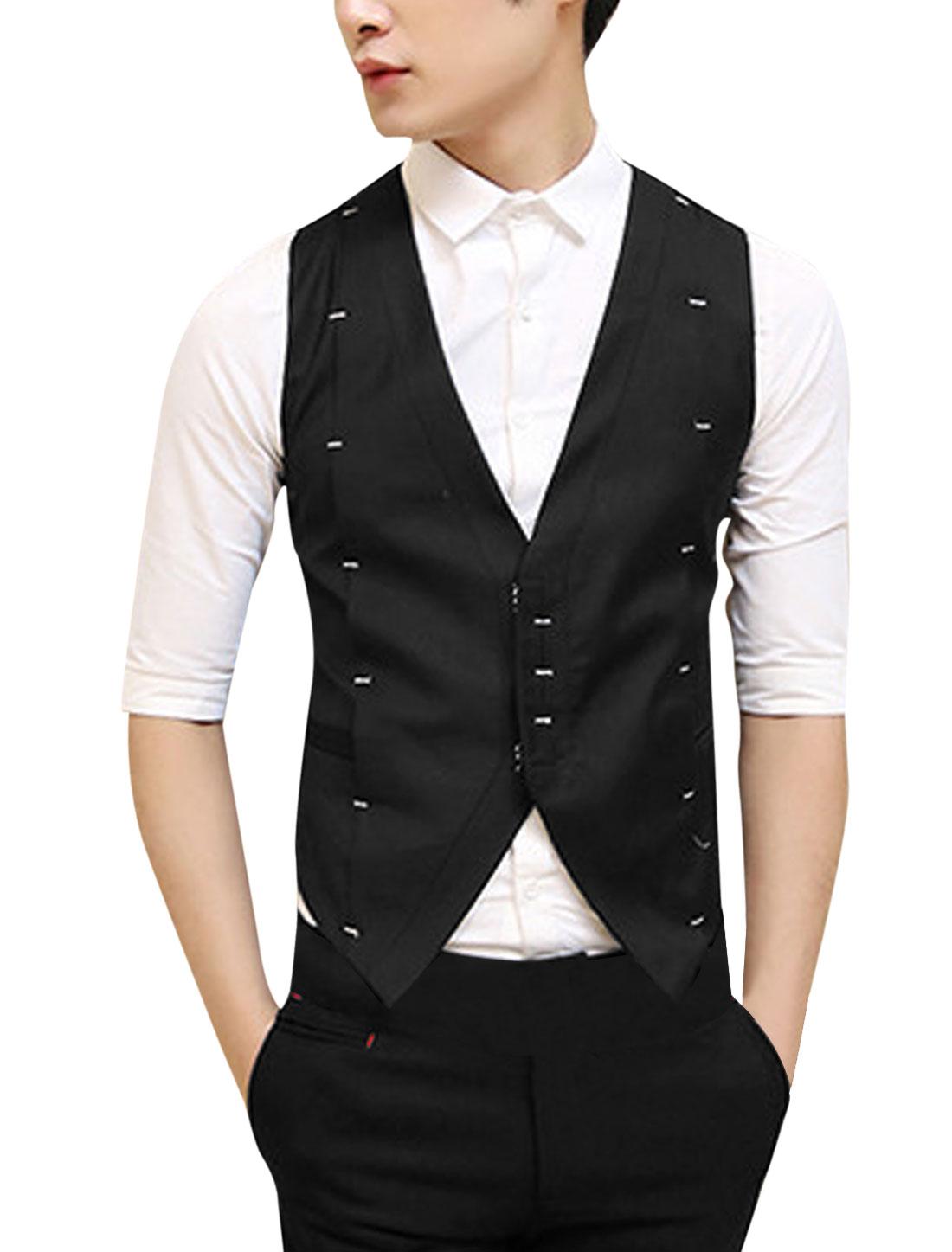 Men New Hook Eye Closure Two Welt Pockets Fashion Vest Black S