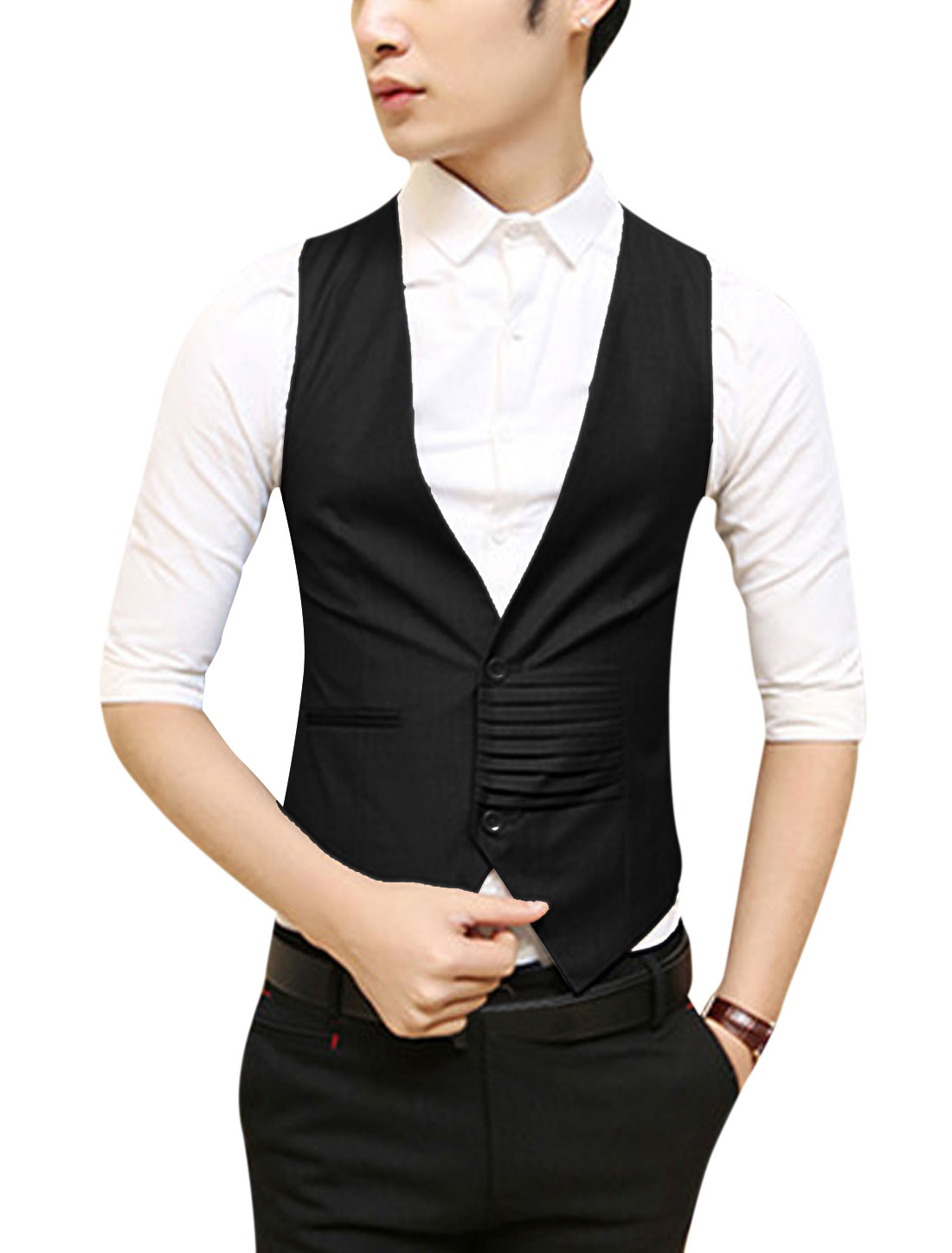 Men NEW Deep V Neck Two Buttons Closed Fashion Vest Black S