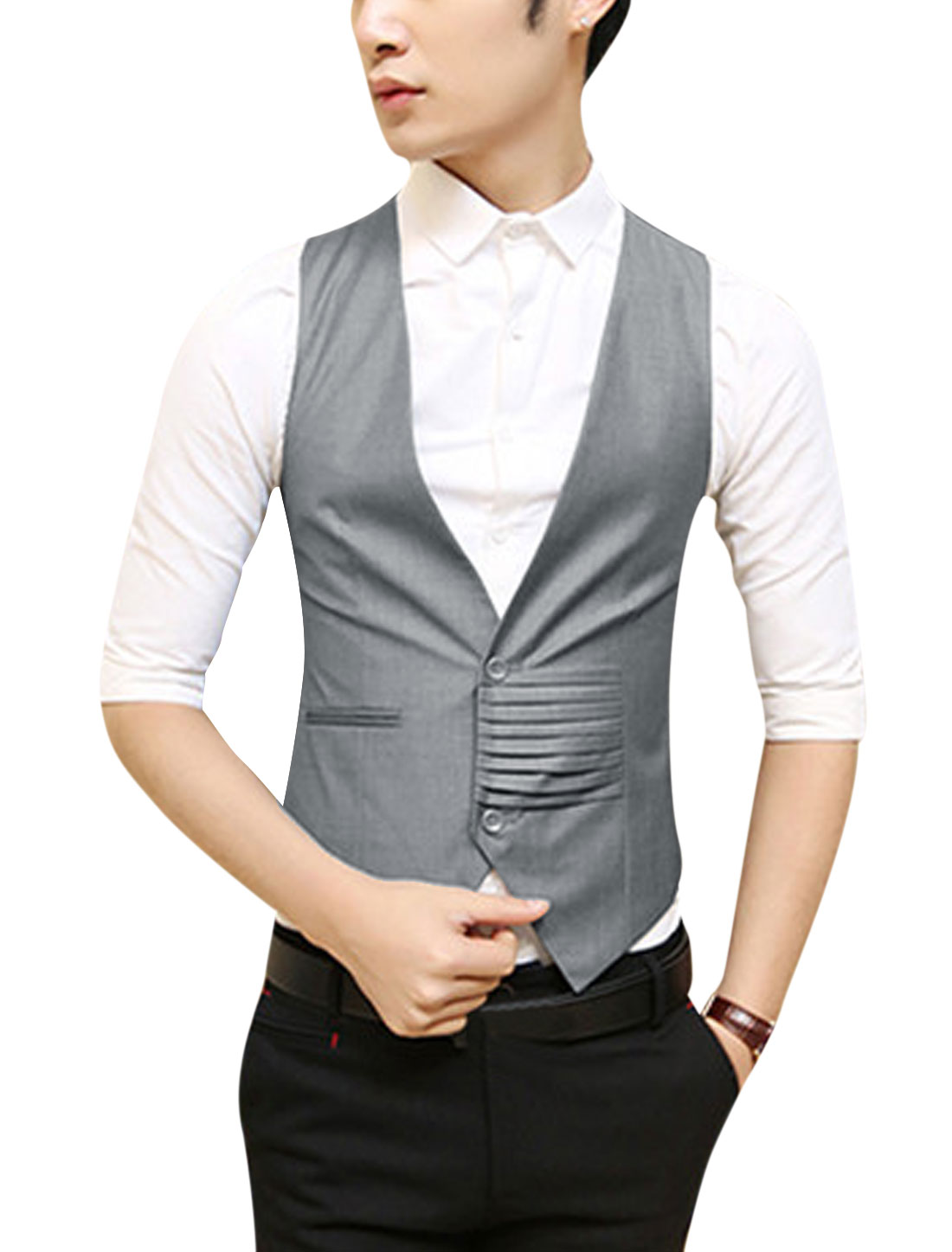 Men NEW Fake Welt Pocket Front Pleated Detail Fashion Vest Gray S