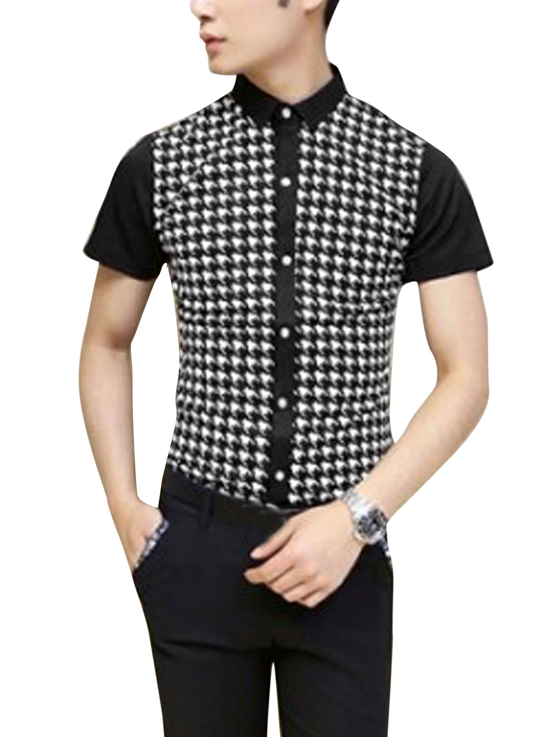 Men Houndstooth Pattern Point Collar Short Sleeve Casual Shirt Black S