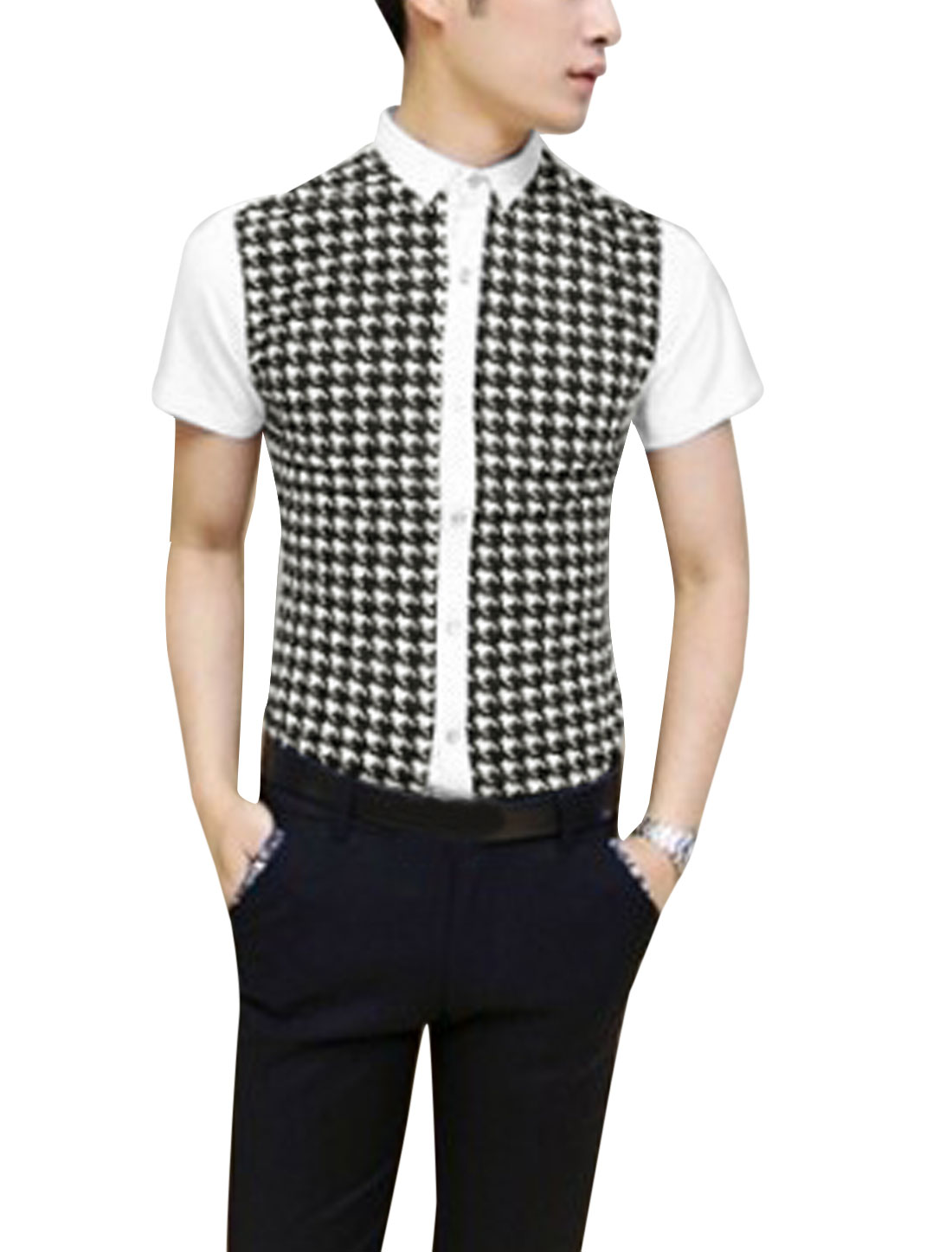 Men Houndstooth Pattern Panel Short Sleeve Shirt White S