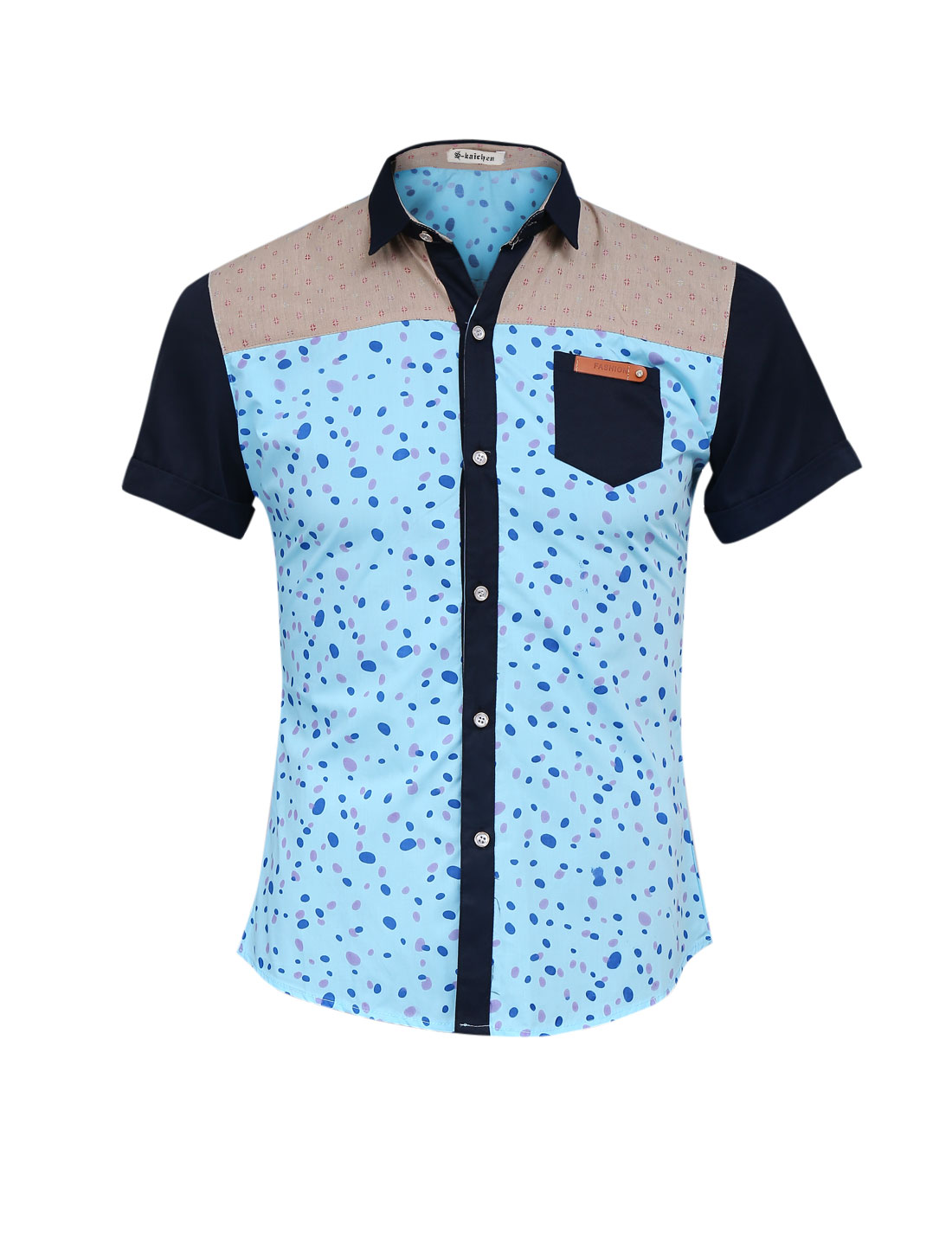 Men Spots Pattern Point Collar Short Sleeve Casual Shirt Sky Blue S
