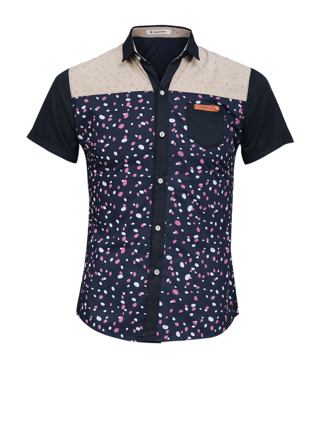 Men Spots Pattern Button Closed Short Sleeve Casual Shirt Navy Blue S