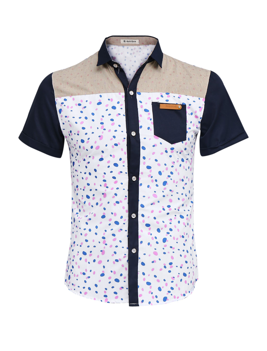 Men Casual Styling Spots Pattern Short Sleeve Shirt White S
