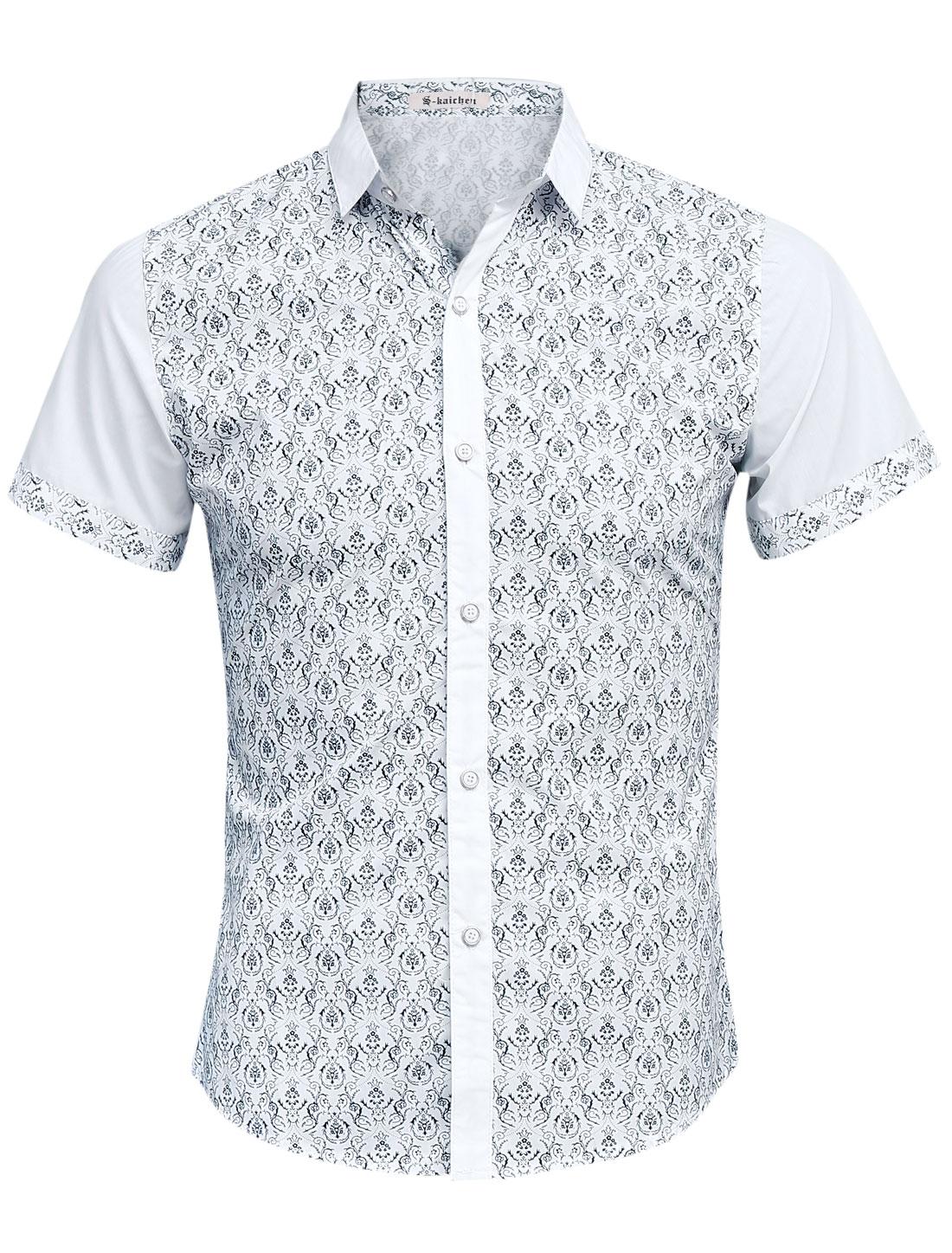 Men Floral Prints Short Sleeve Panel Design Slim Leisure Shirt White S