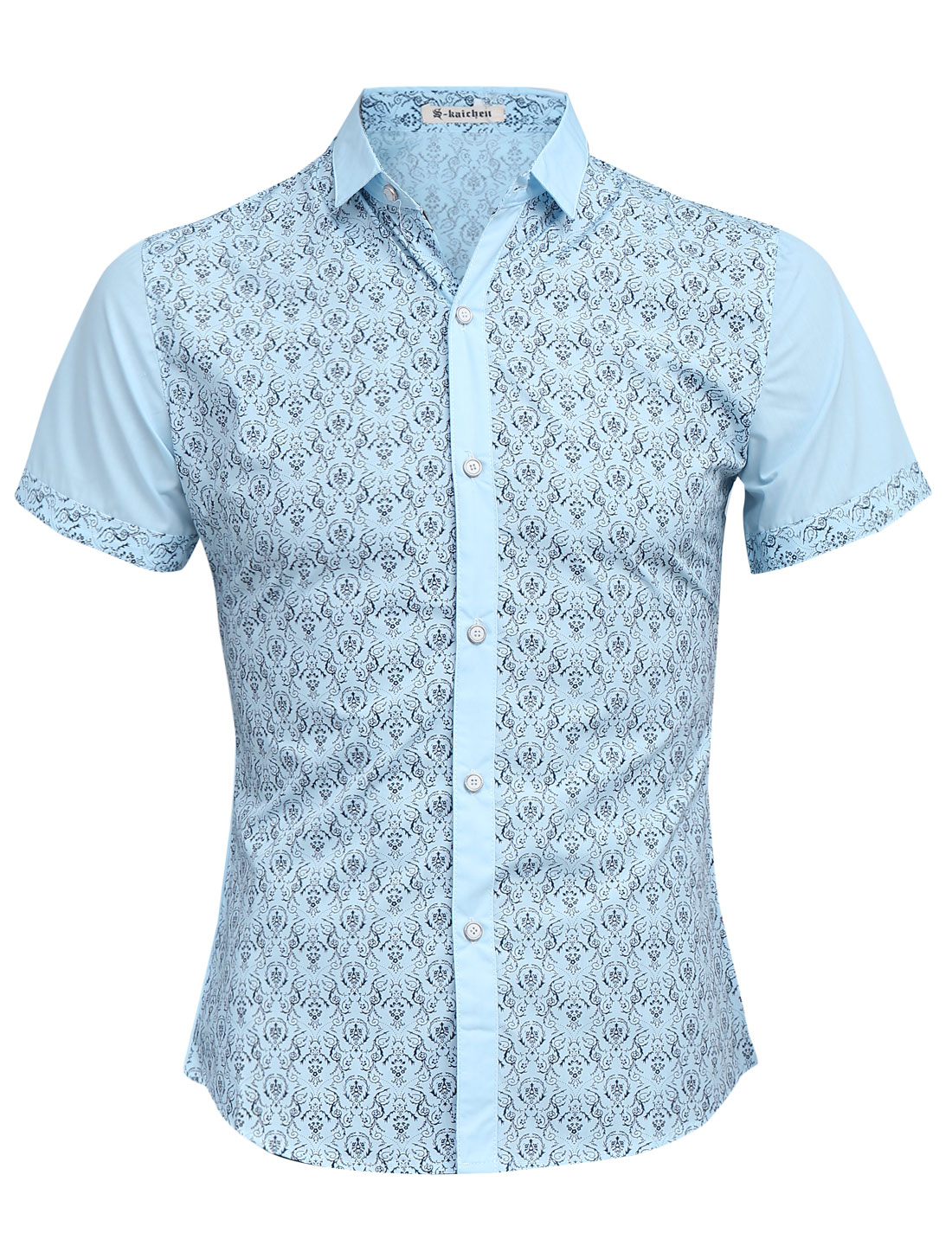 Men Floral Prints Point Collar Panel Design Slim Leisure Shirt Sky Blue S
