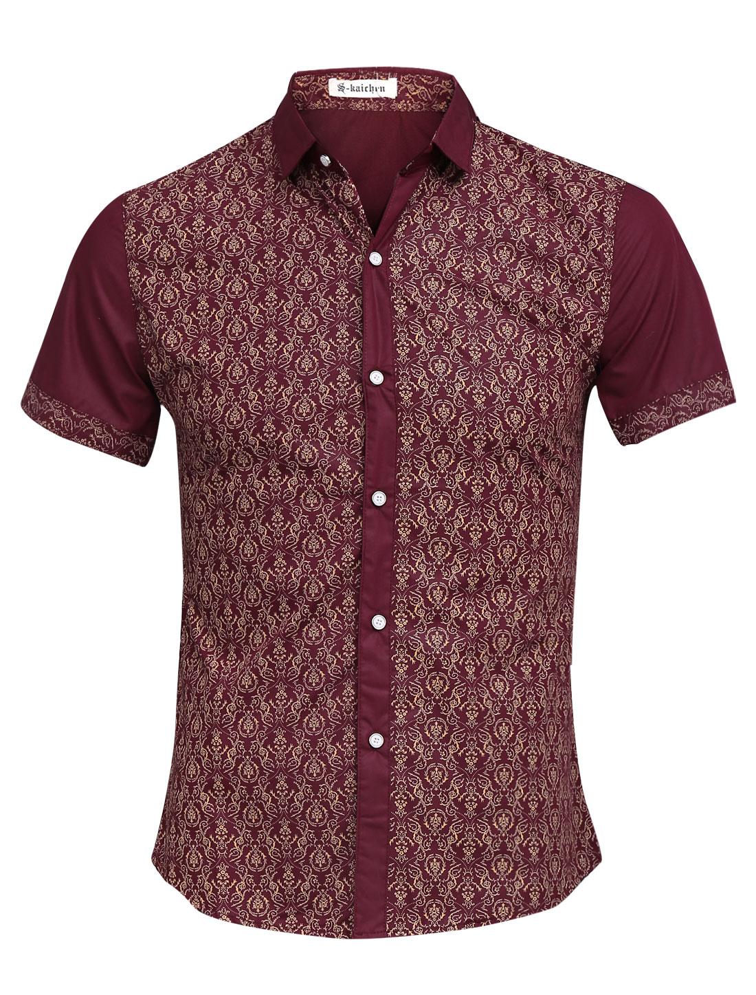 Men Floral Prints Single Breasted Panel Design Slim Shirt Burgundy S