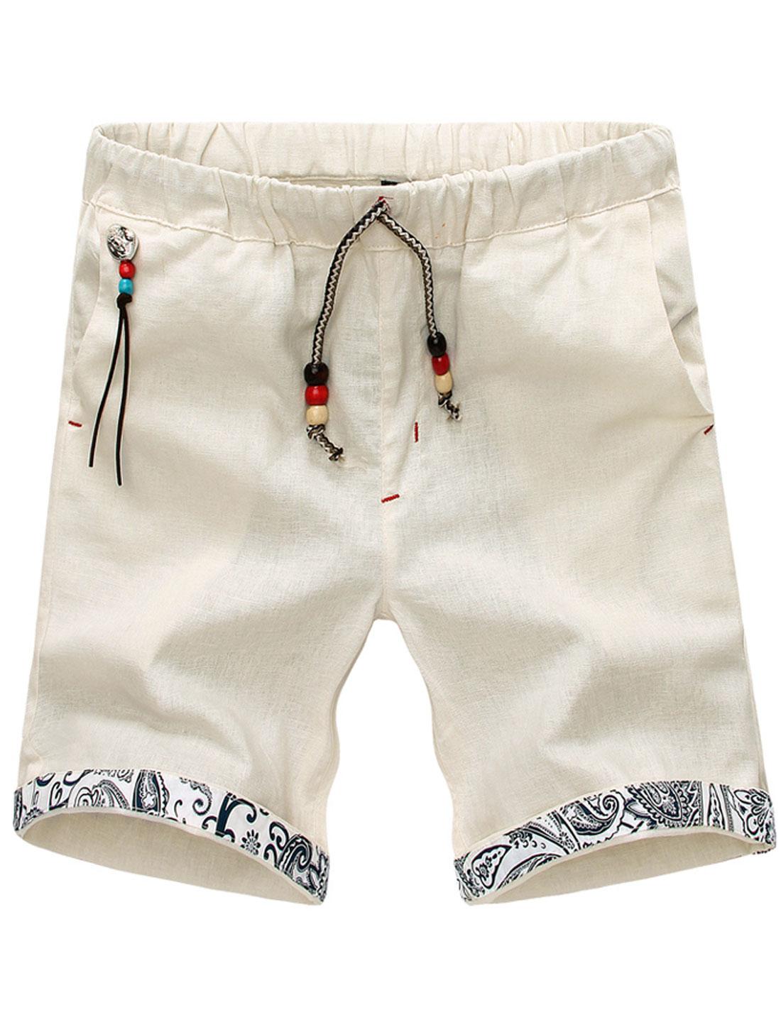 Men Stretchy Waist Wooden Pearls Decor Casual Short Pants Beige W32