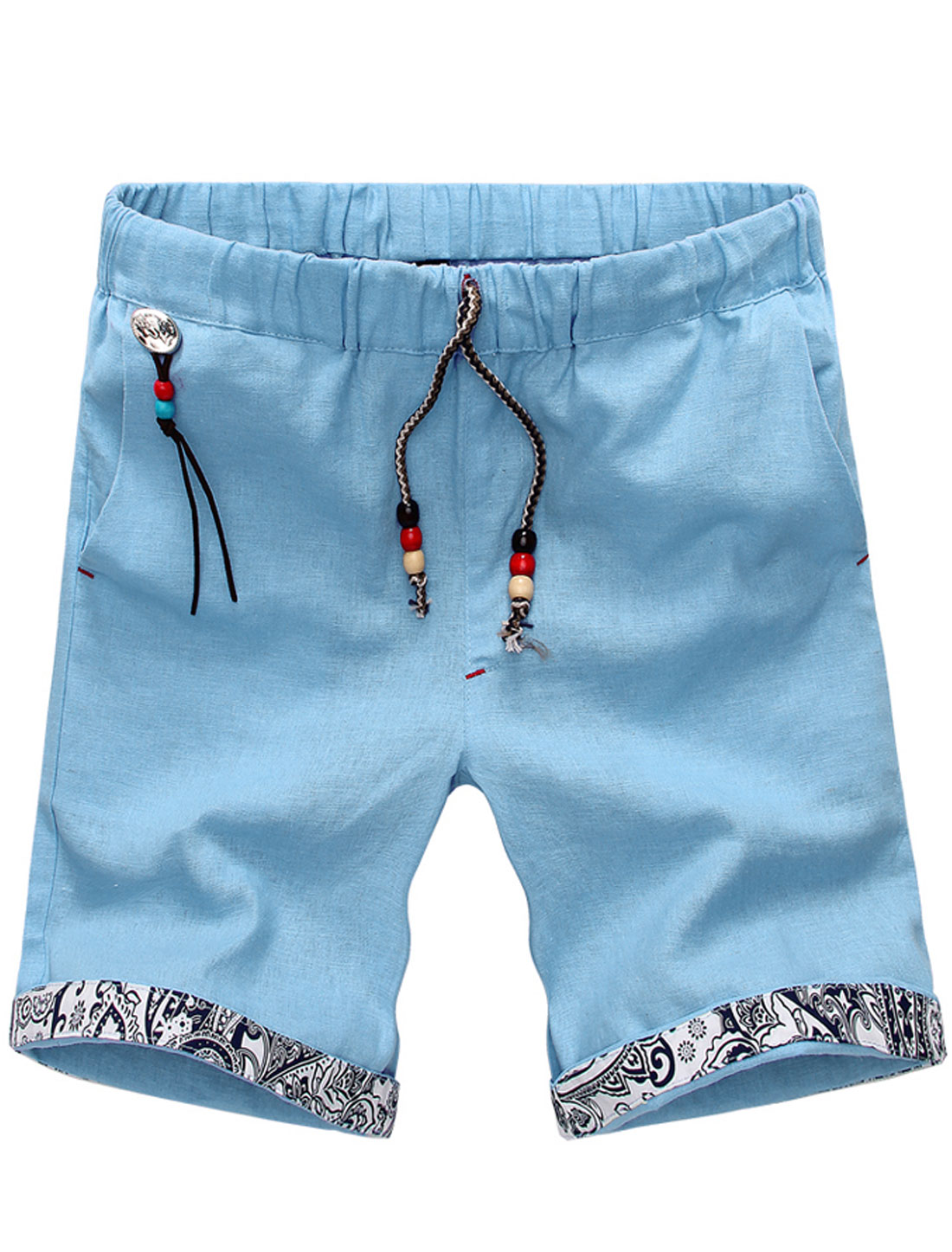 Men Drawstring Waist Wooden Pearls Decor Short Pants Sky Blue W32