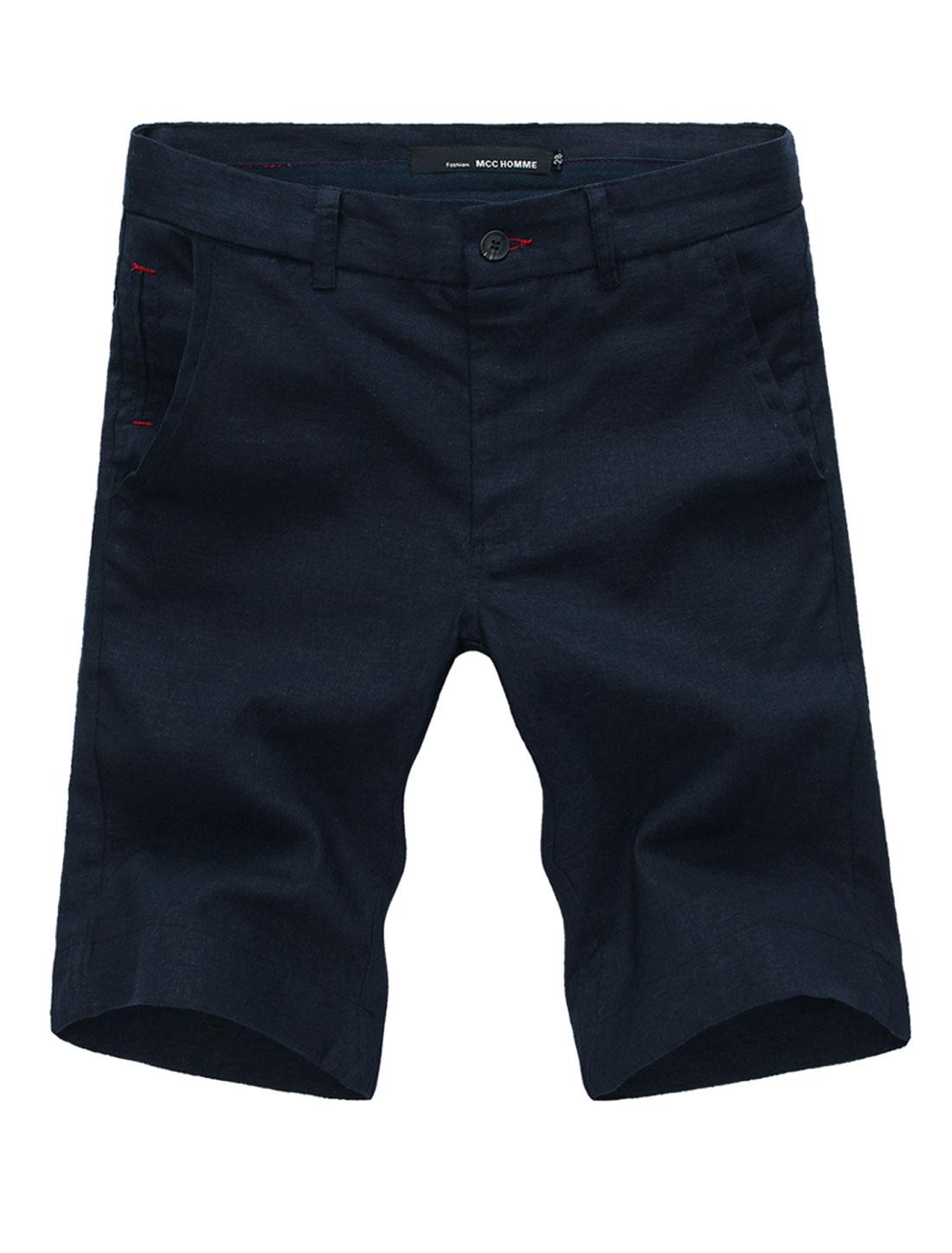 Men Button Closure One Fake Pocket Front Leisure Linen Shorts Navy Blue W34