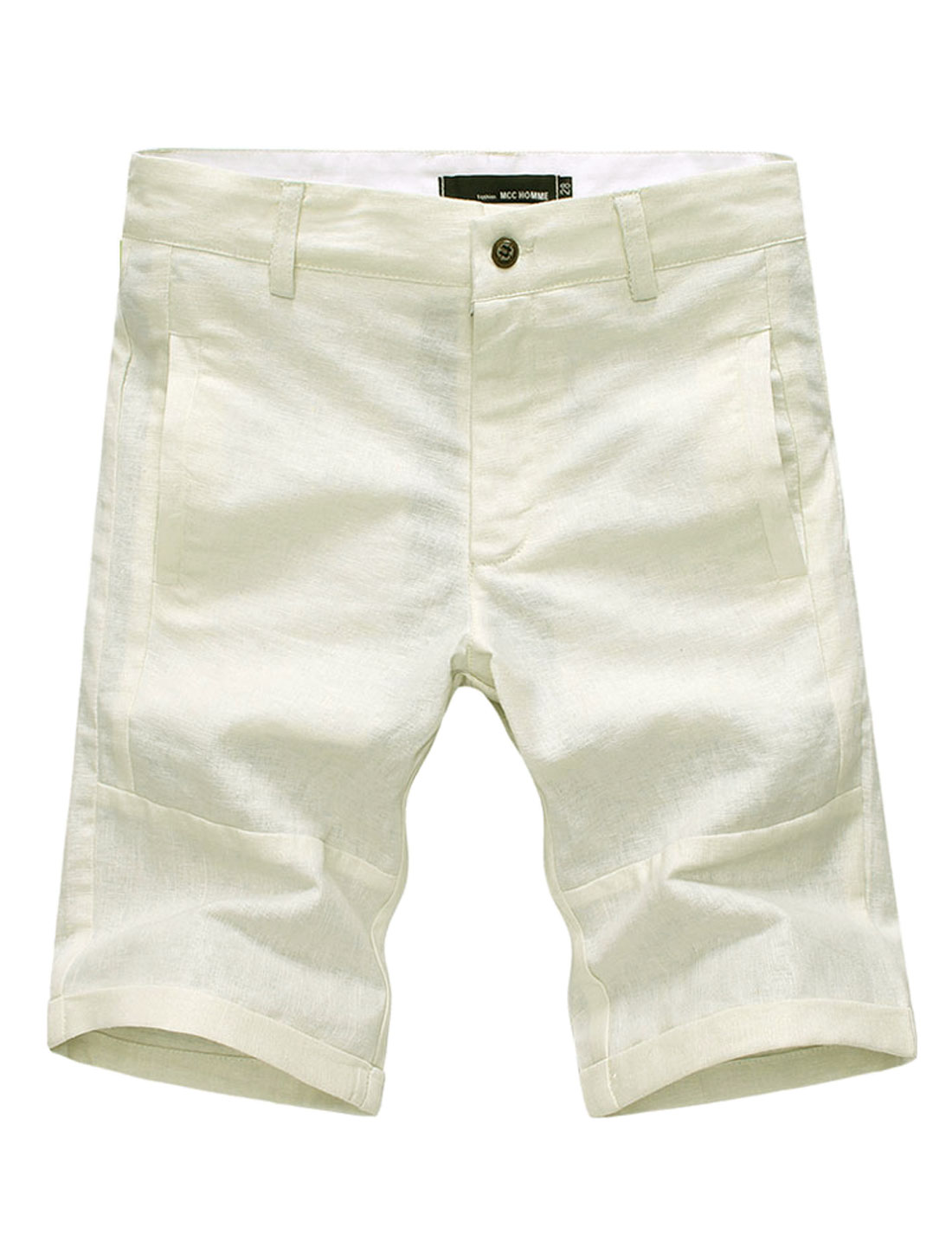 Men Roll Up Cuffs Two Fake Welt Pockets Back NEW Linen Shorts Beige W34