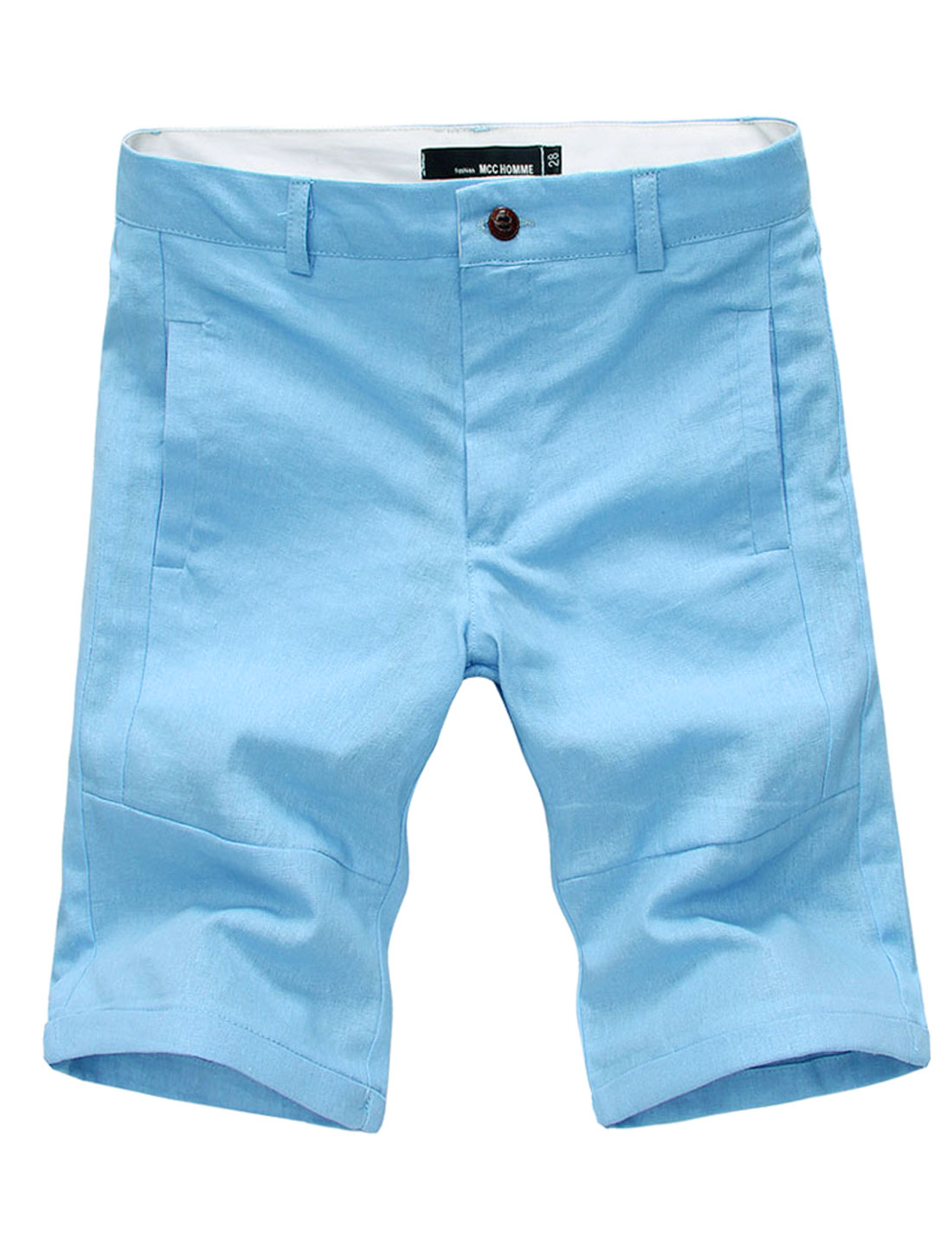 Men Waist Loop Two Side Pockets Stylish Linen Shorts Baby Blue W34