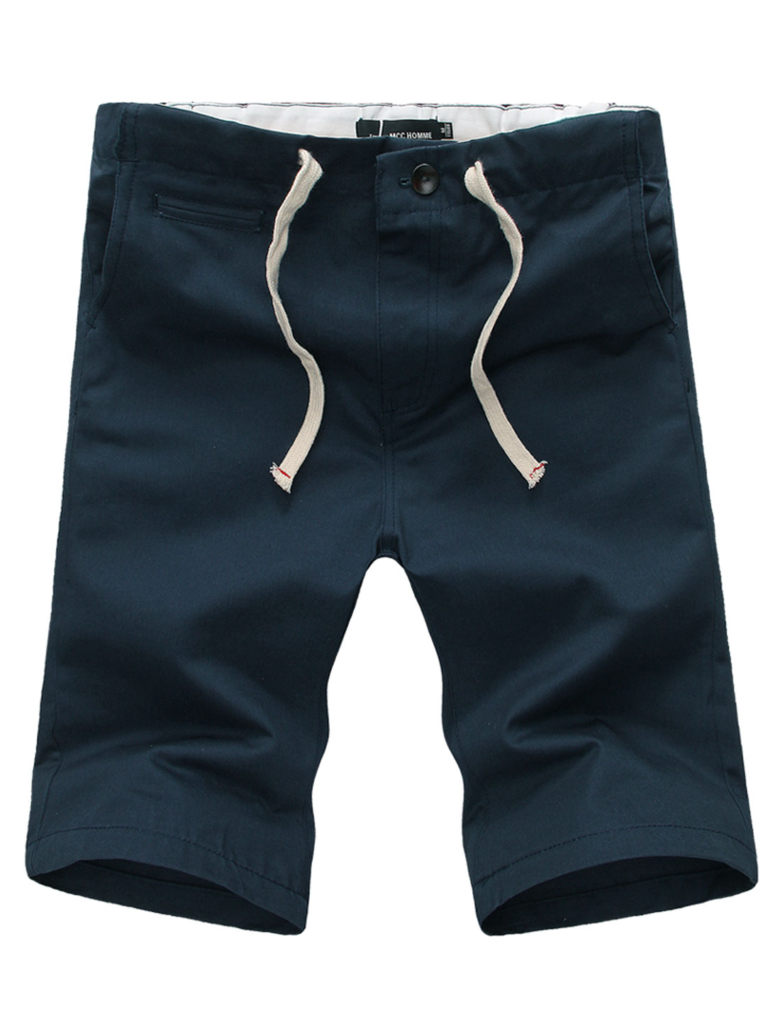 Men Elastic Drawstring Waist Zipper Fly Loose Fit Shorts Navy Blue W32