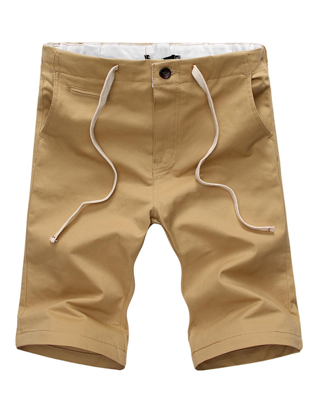 Men Double Hip Pockets Zipper Fly Loose Fit Shorts Khaki W32