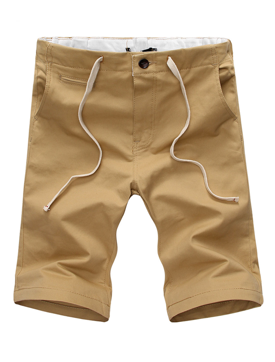 Men Stretch Waist One Fake Welt Pocket Front Loose Fit Shorts Khaki W38