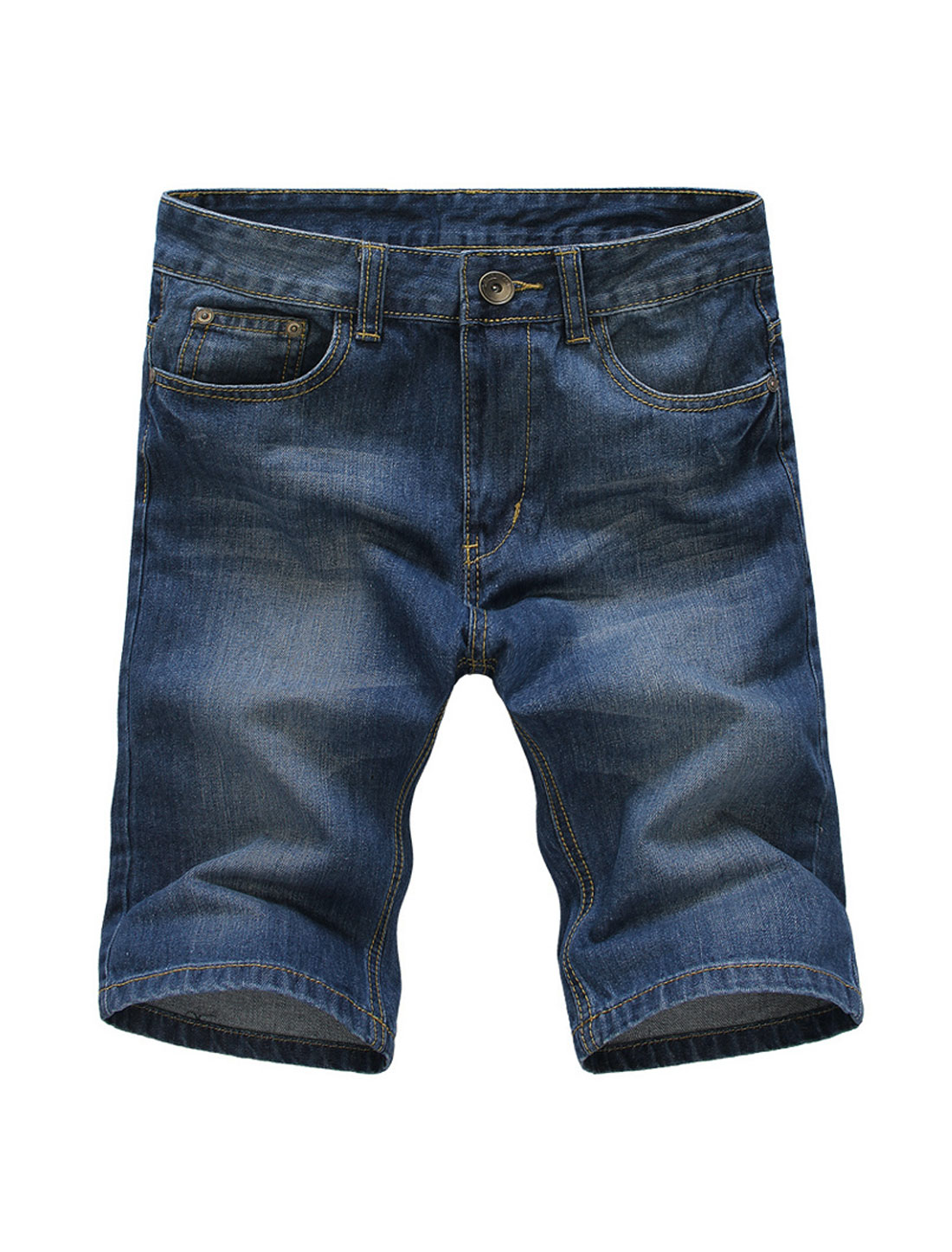 Men's Front Hip Pockets Zip Fly Mid Rise Jeans Shorts Dark Blue W30