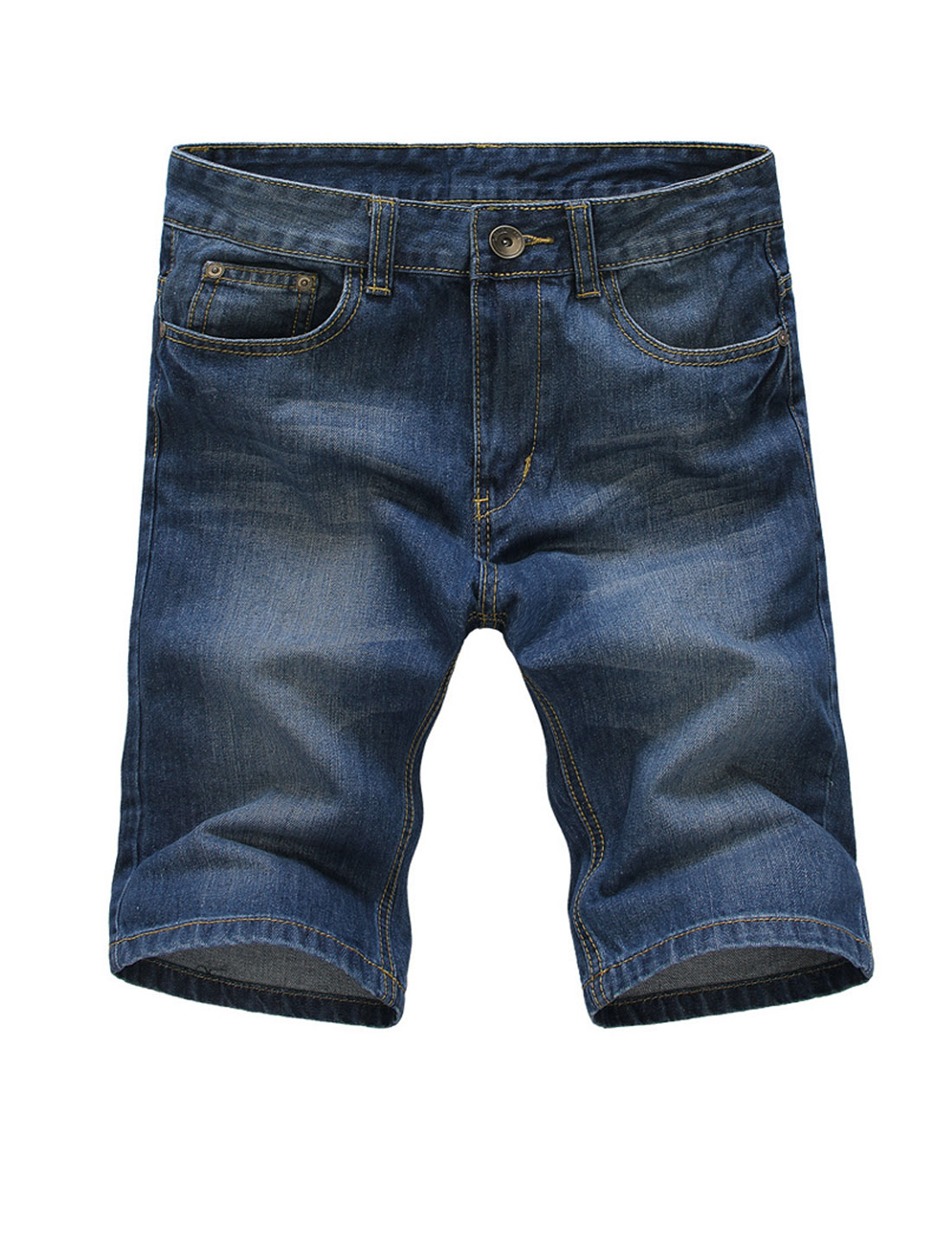 Front Hip Pockets Zip Fly Mid Rise Denim Shorts for Man Dark Blue W34