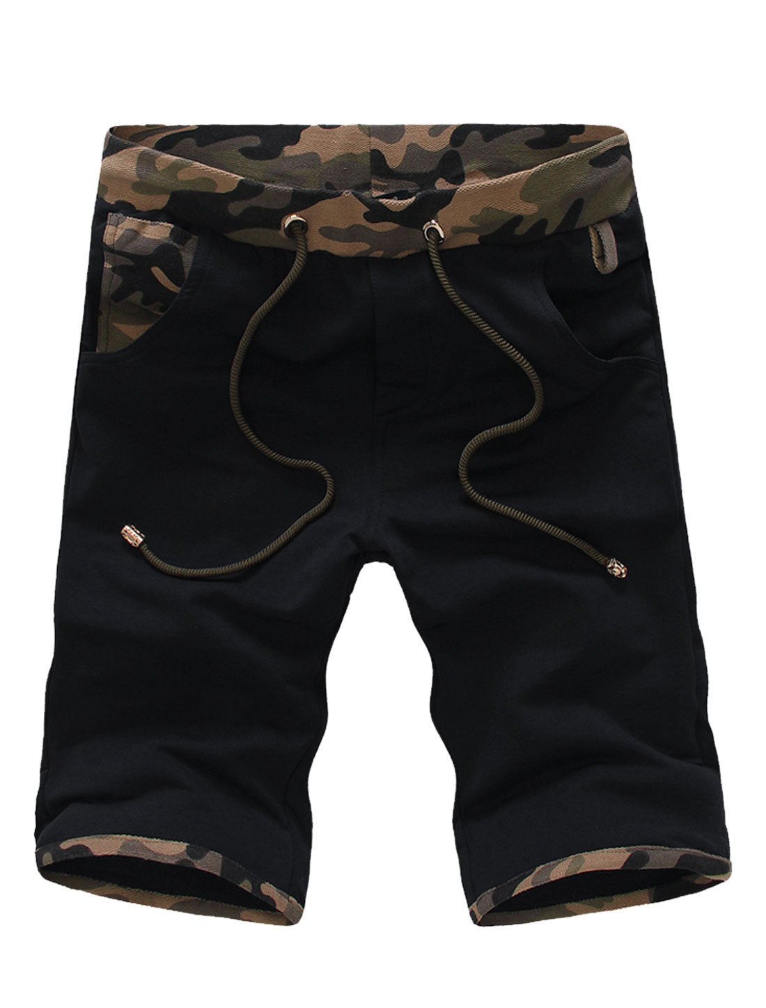 Men Drawcord Design Camouflage Pattern Casual Shorts Navy Blue W30
