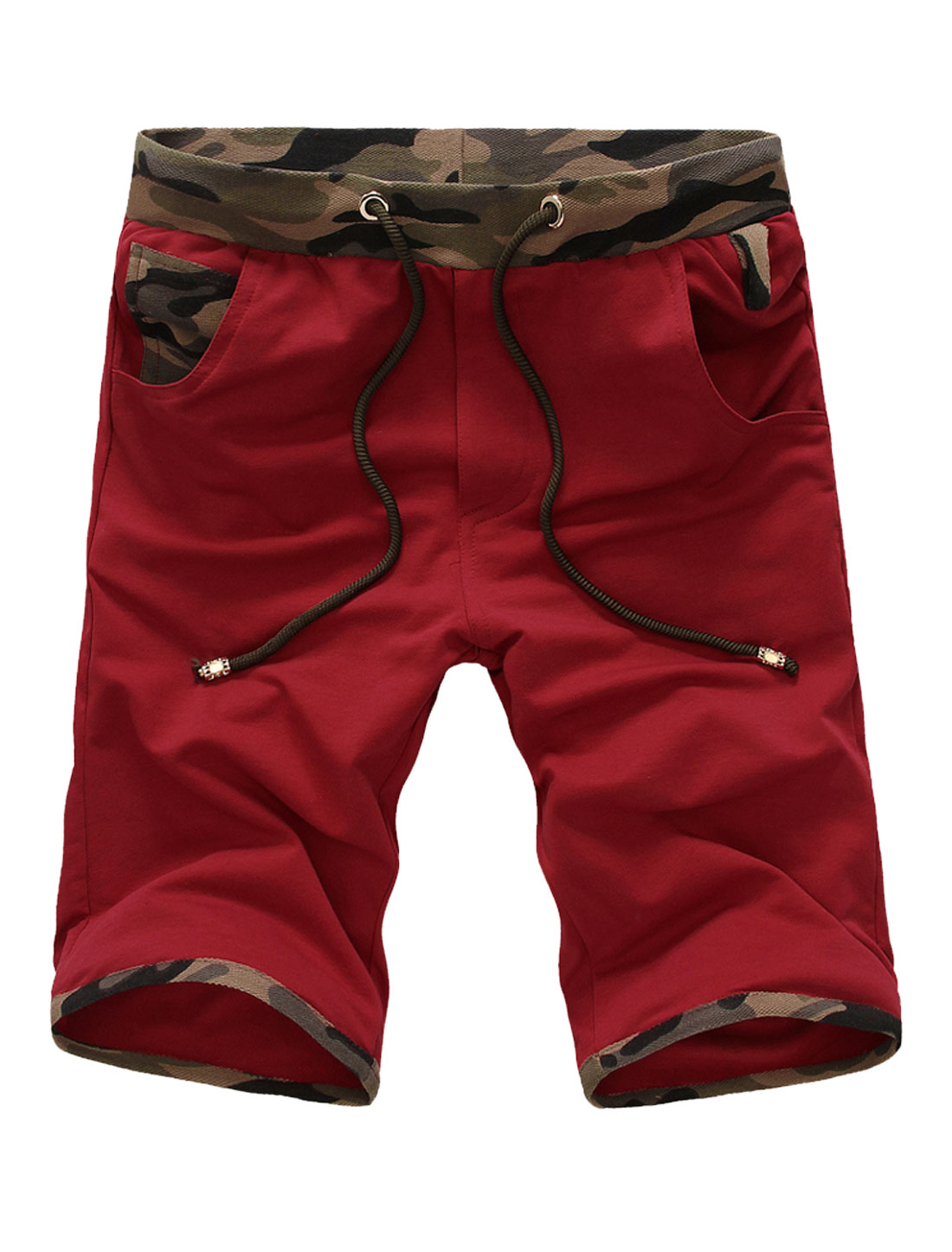 Men Stretchy Waist Panel Camouflage Pattern Casual Shorts Red W30