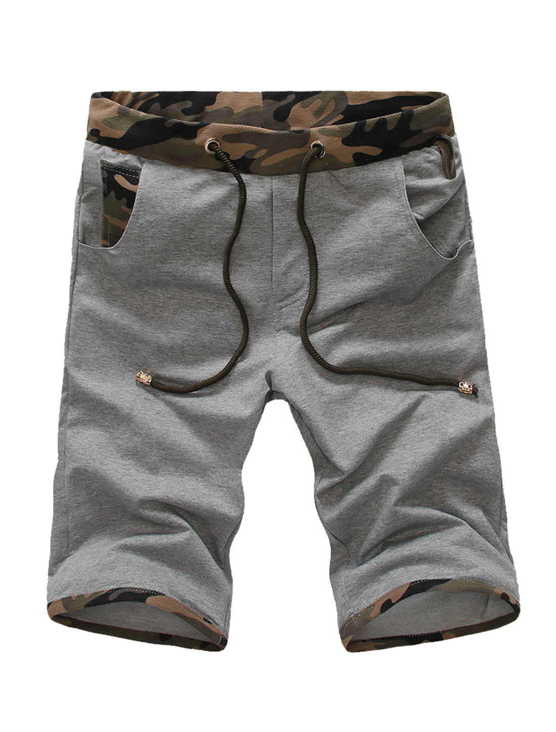 Men Drawcord Design Pockets Front NEW Casual Shorts Light Gray W30