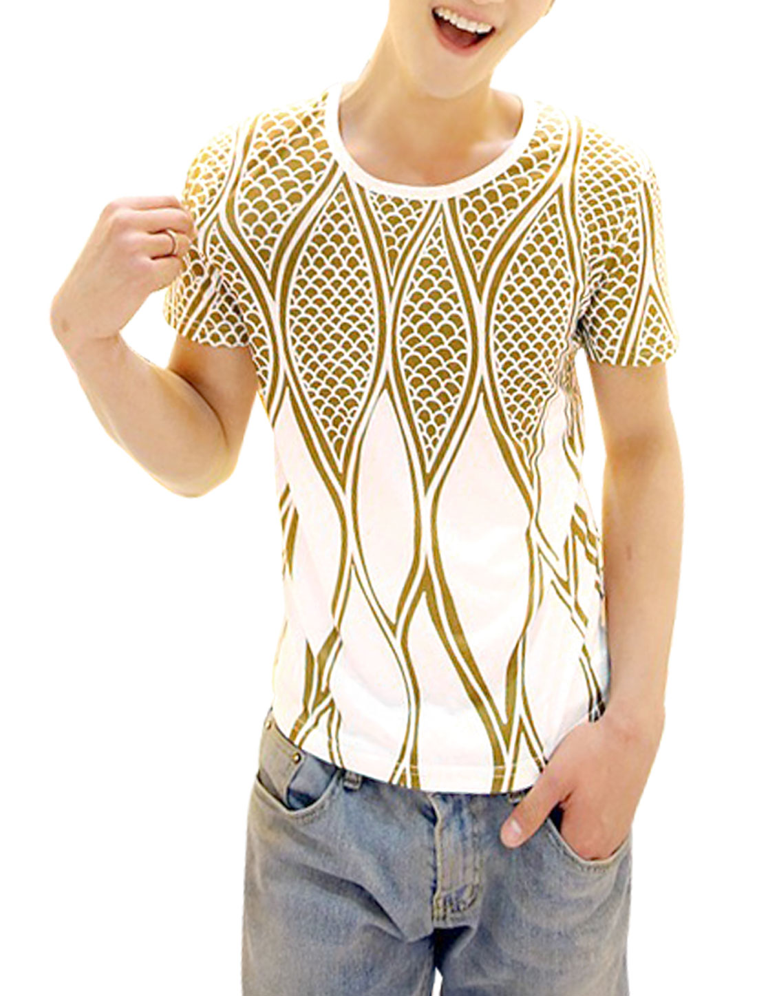 Men Short Sleeve Scale Pattern Soft Slim Fit Top Shirt White Ochre M