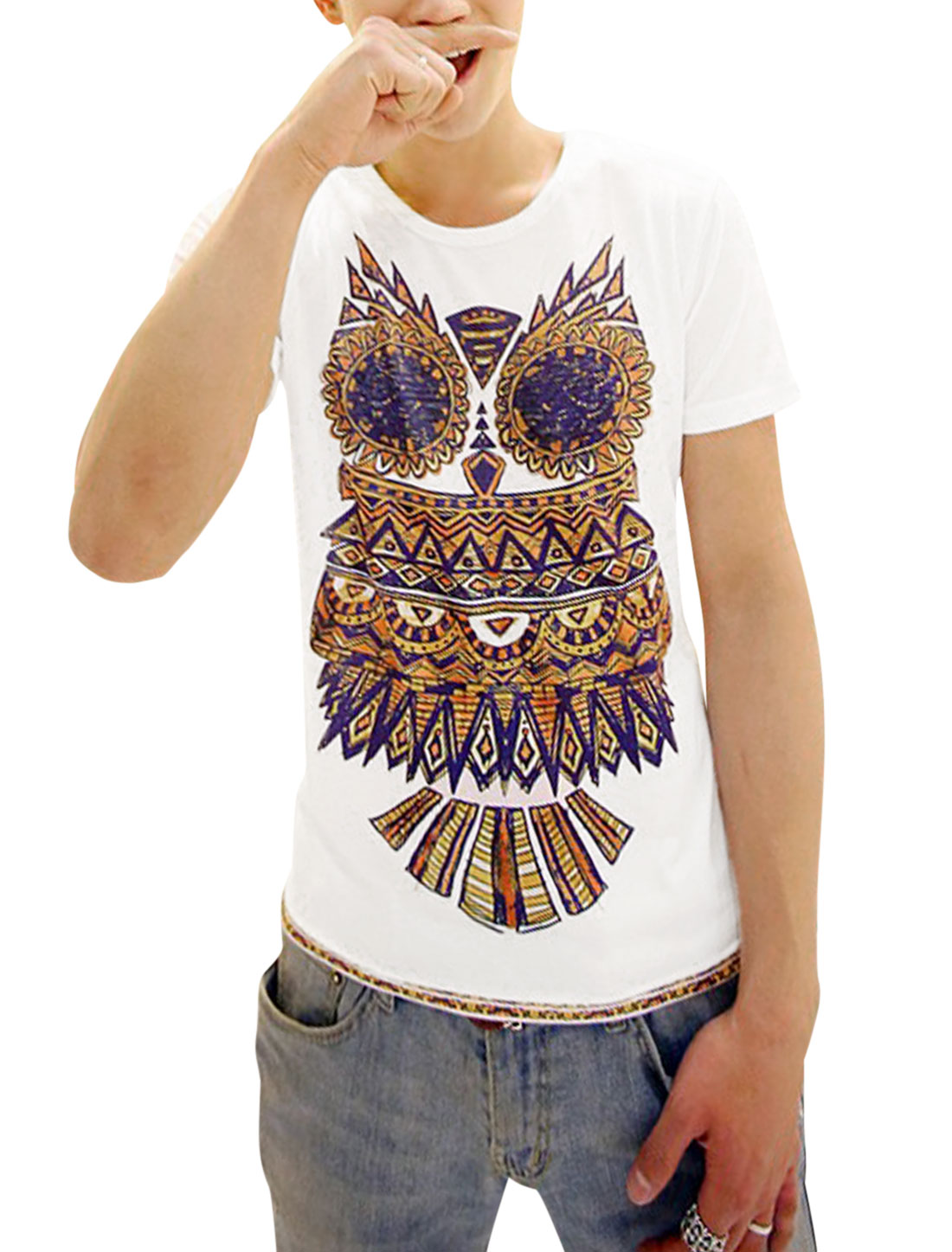 Man's Owl Print Short Sleeve Round Neck Tee Shirt White M