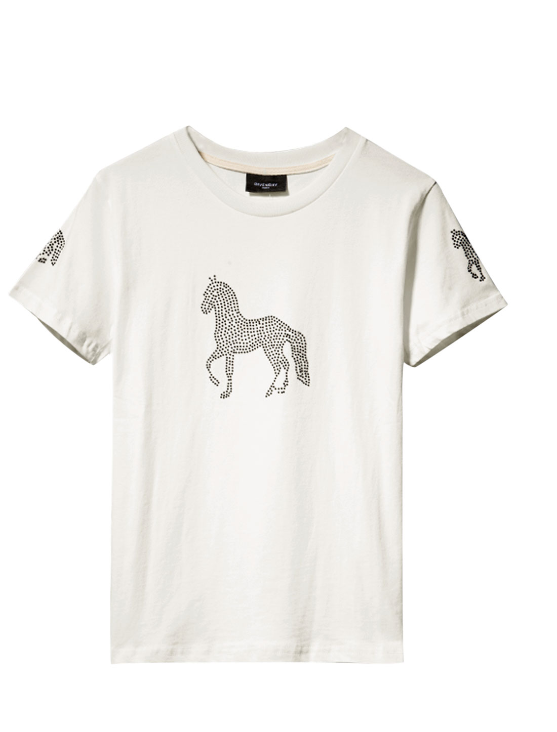Men Summer Wear Round Neck Horse Pattern Casual Tee White S