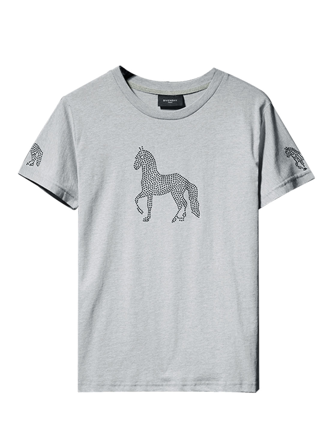 Men Round Neck Short Sleeve Horse Pattern Casual Tee Light Gray S