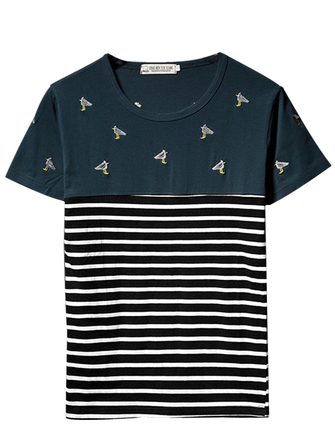 Men Short Sleeve Bar Striped Casual T-Shirt Navy Blue M