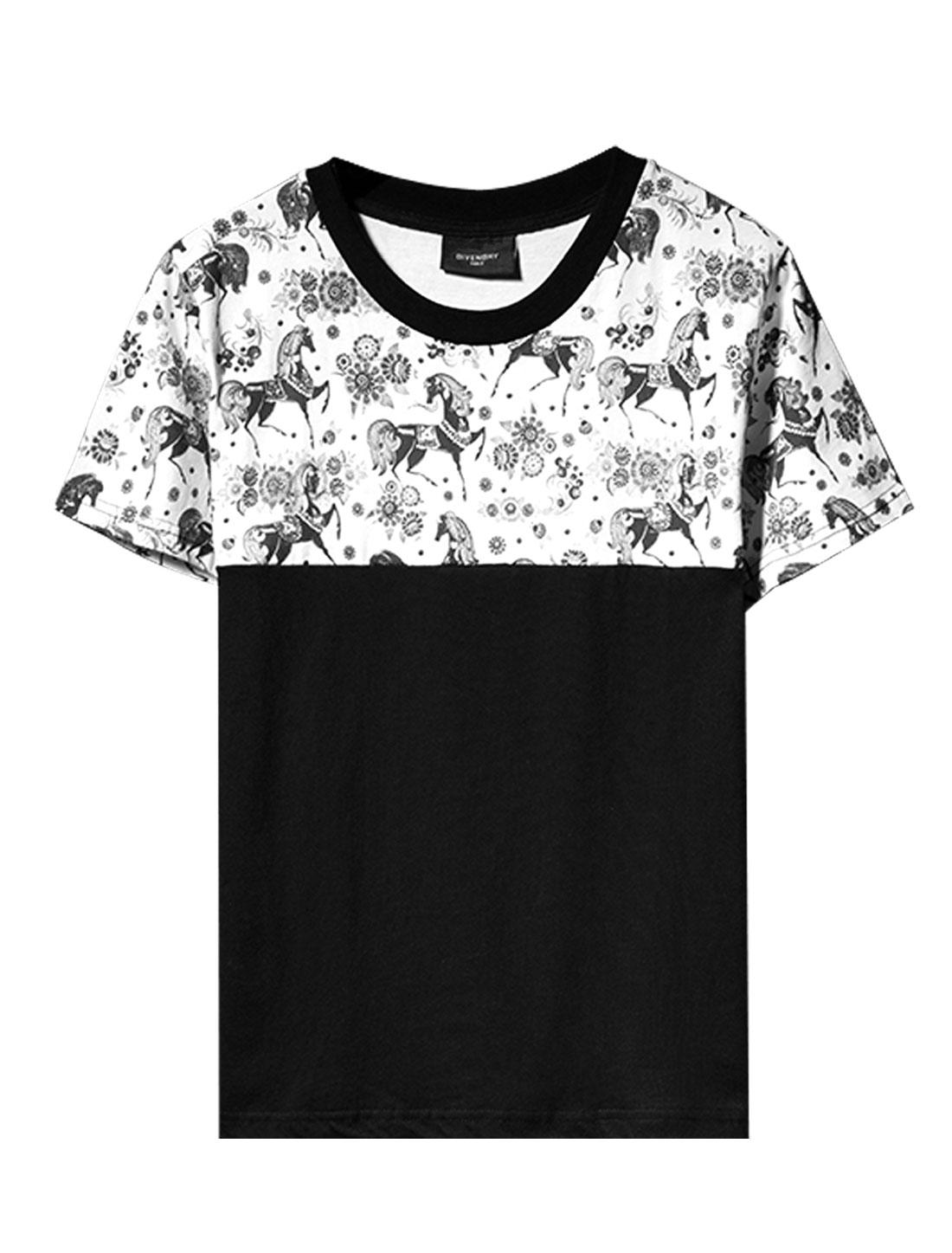 Men Short Sleeve Horse Pattern Flower Pattern Soft Fashion Tee Black M