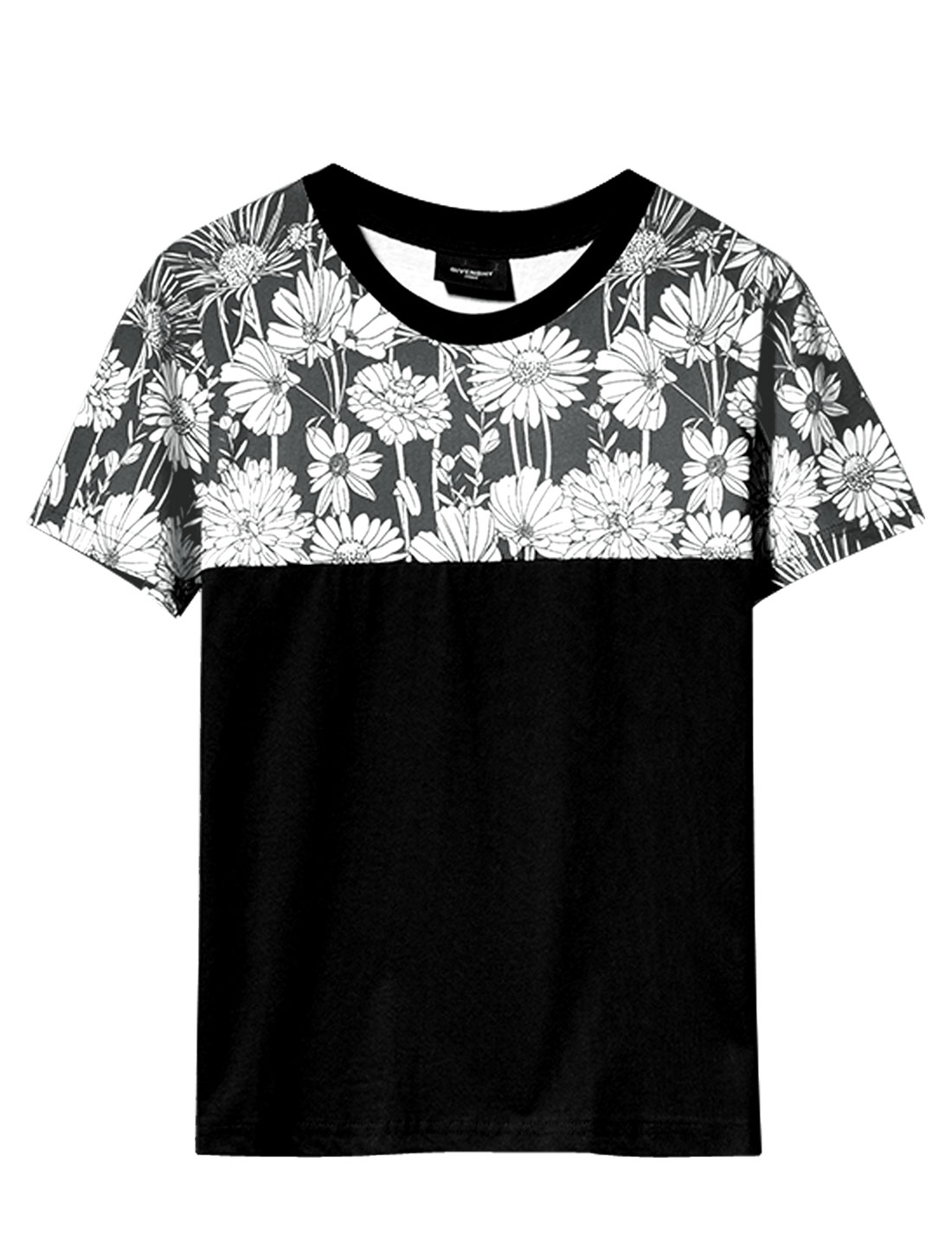 Men Short Sleeve Splicing Flower Pattern Slim Fit T-Shirt Black M