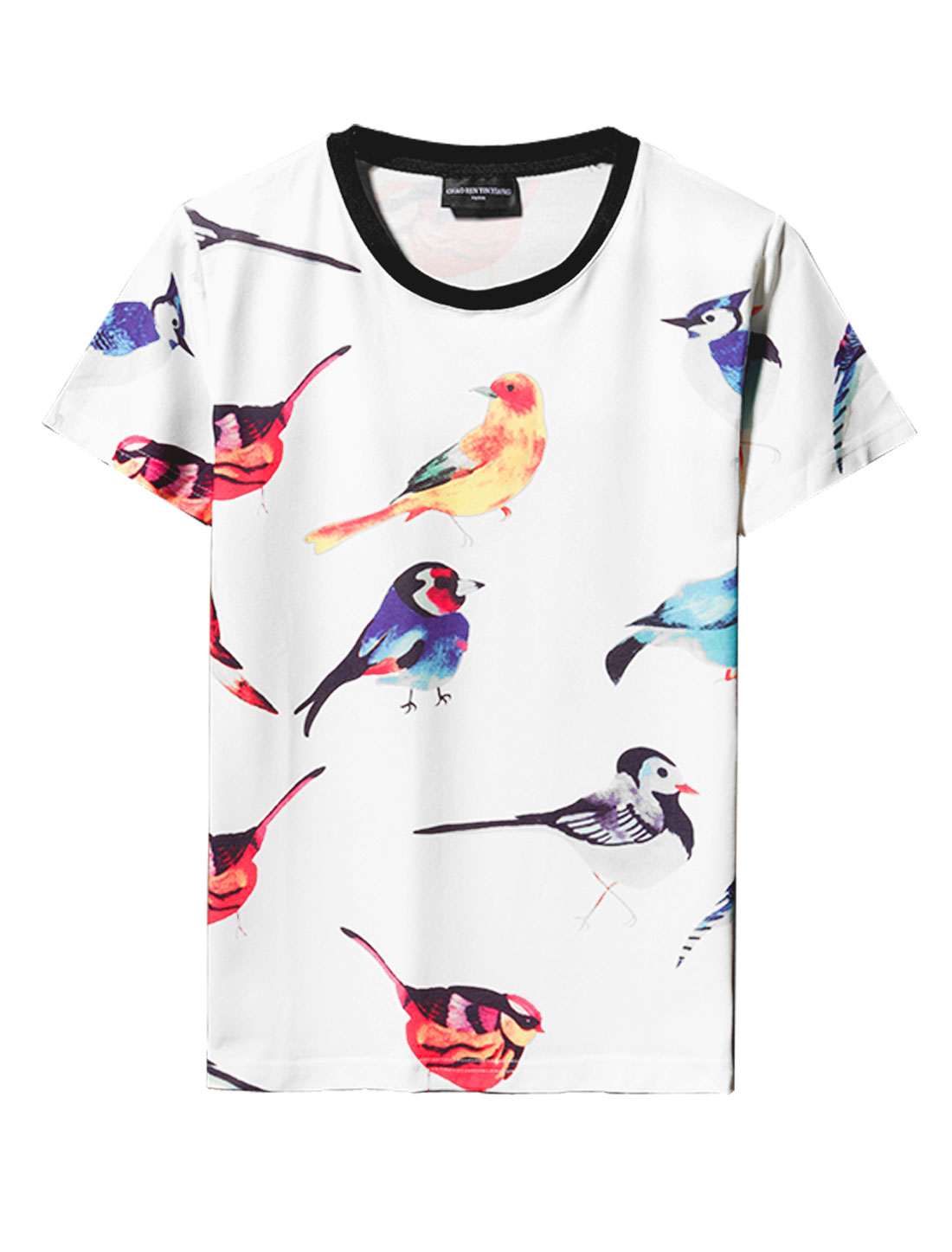 Men Short Sleeve Birds Pattern Slim Fit Tee Shirt White M