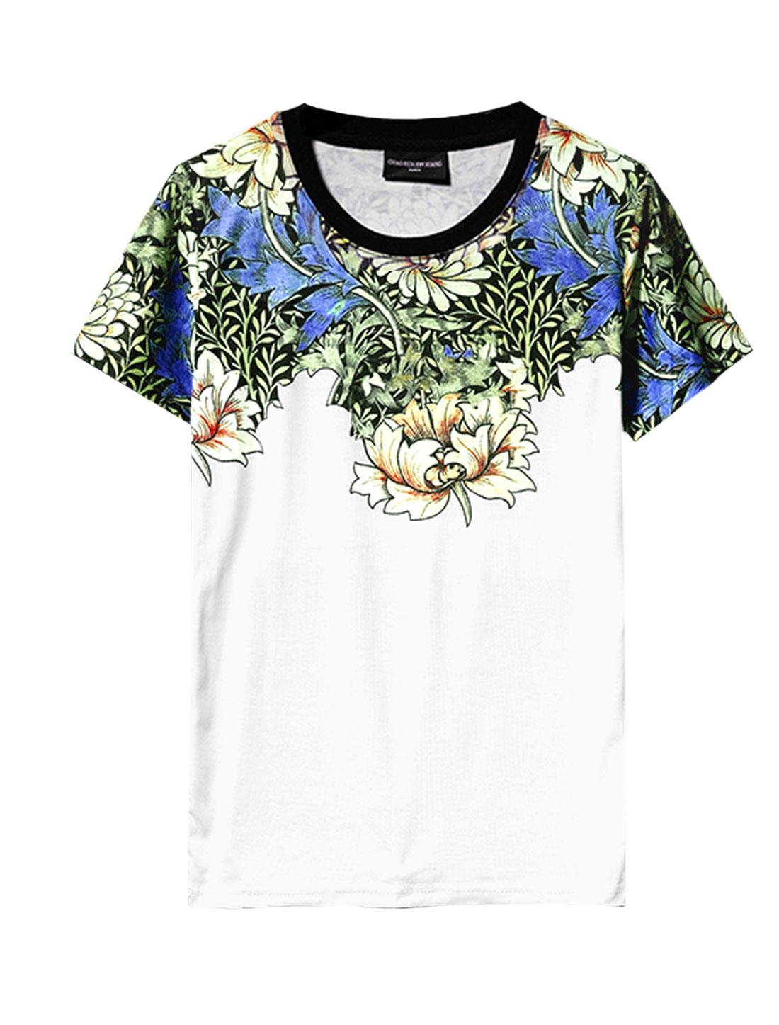 Short Sleeve Floral Prints Soft Trendy T-Shirt for Men White M