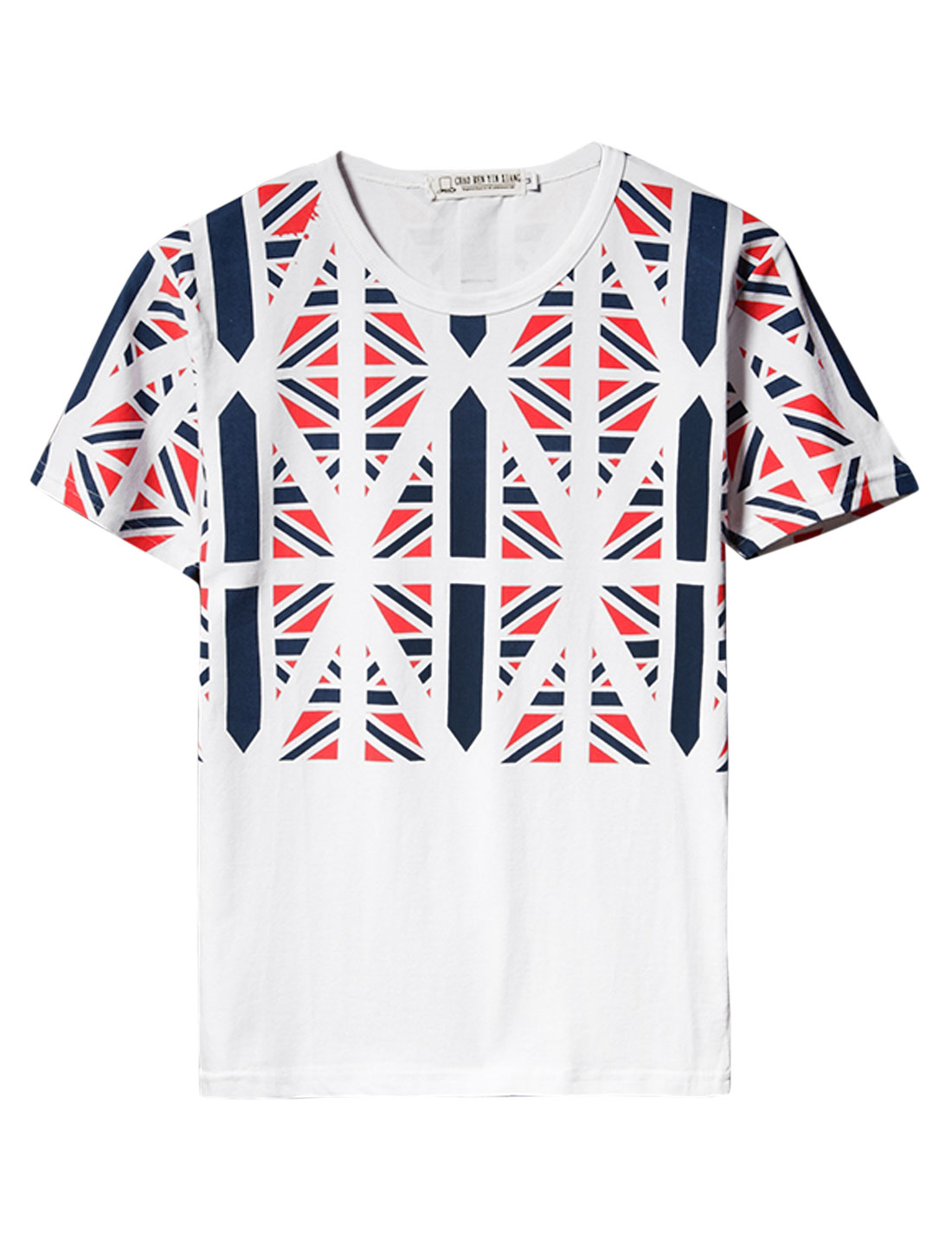 Men's Round Neck Union Jack Printed Pullover Short Sleeve T Shirt Multicolor M