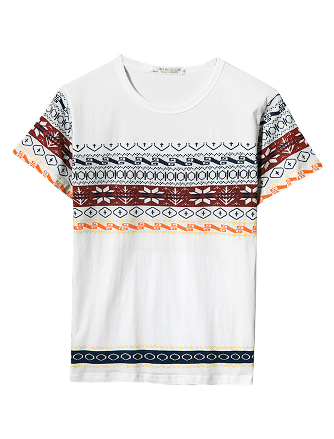 Men Round Neck Short Sleeve Geometric Pattern T-Shirt White S