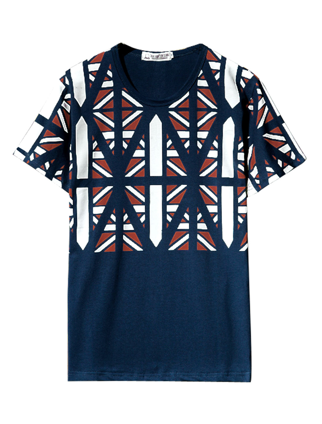 Men Round Neck Geometric Prints Fashion Tee Shirt Navy Blue M