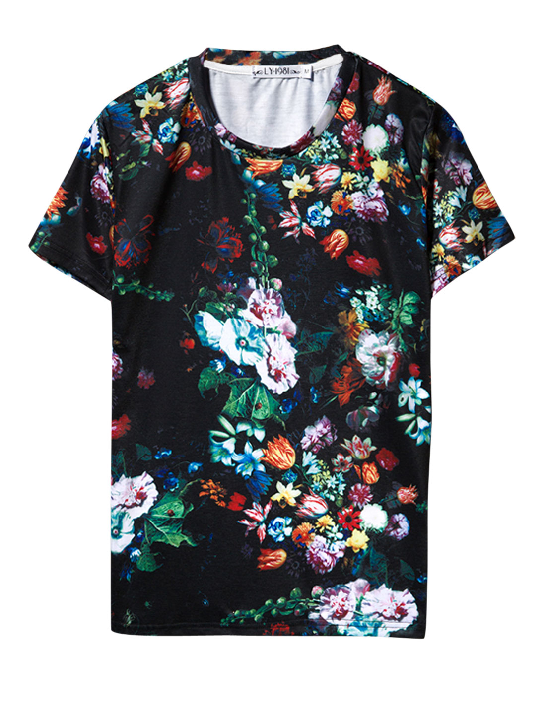 Man Round Neck Short Sleeve Floral Prints Tee Shirt Multicolor M
