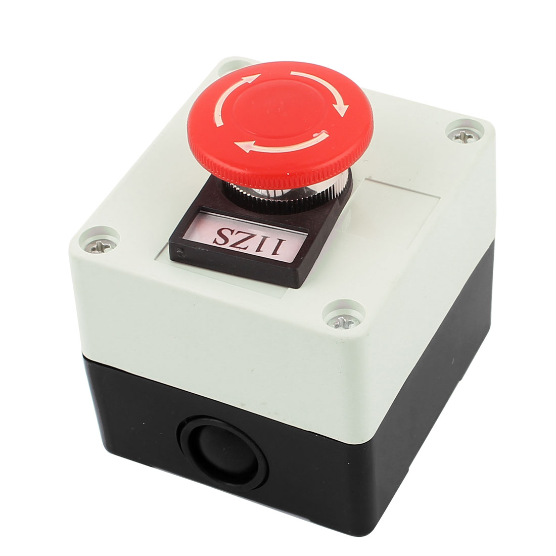 Ui 800V Ith 10A DPST Plastic Case Rotary Reset Emergency Stop Red Mushroom Head Push Button Switch
