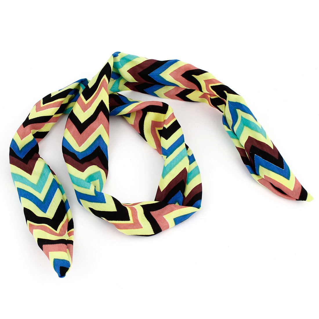 Zigzag Pattern Adjustable Bendy Wire Bow Scarf Hair Head Band Wrap