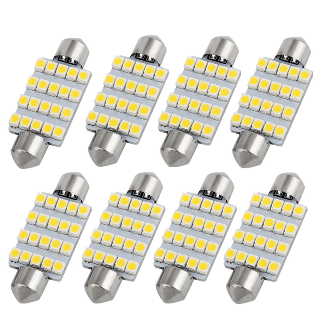 8pcs 41mm 20 SMD 1210 LED Warm White Festoon Dome Light Lamp 212 211-2 Internal