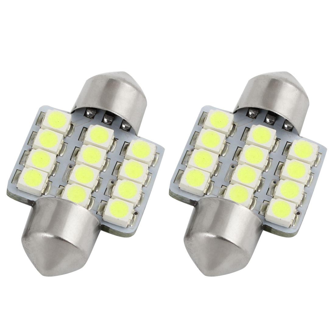 2 X White 31MM 12SMD Festoon Dome Map Interior LED Light Lamp DE3175 3022 3021