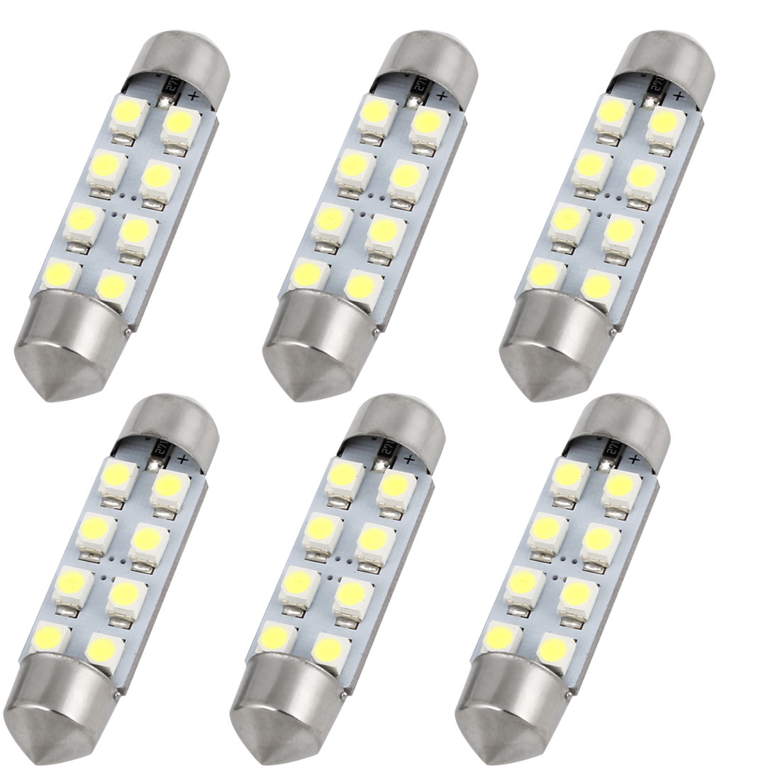 6PCS 41mm 3528 8 SMD White Car Festoon Dome LED Map Light 569 6429 Internal