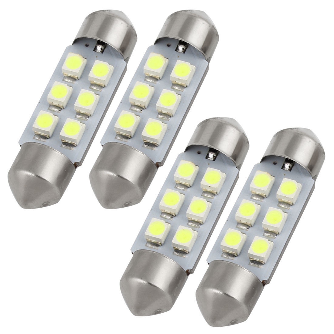 4pcs 36mm 3528 SMD 6-LED Festoon Map Reading Light Lamp White DE3425 Internal