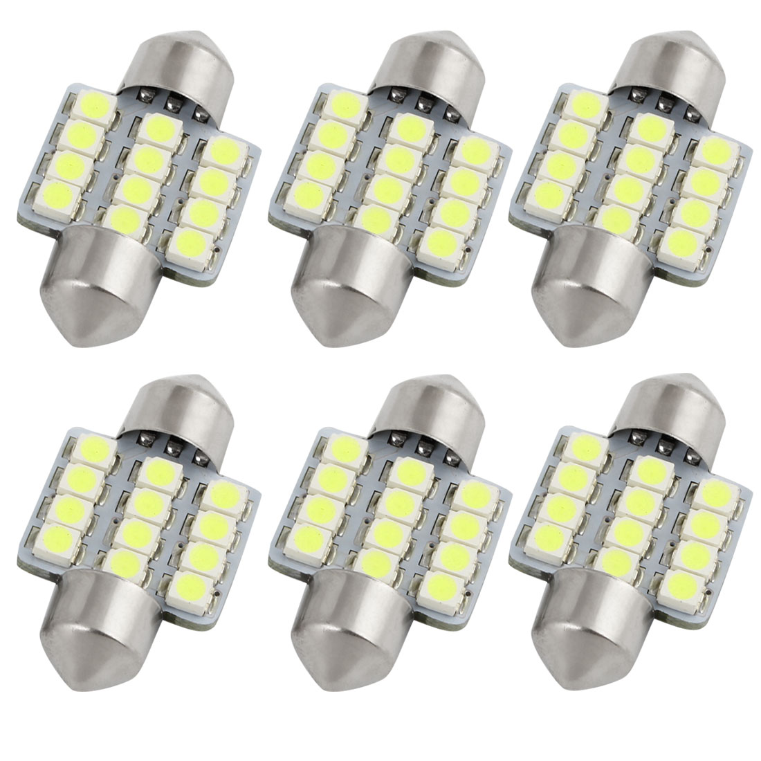 6 Pcs 31mm 12 SMD 3528 LED White Festoon Map Light Lamp 6428 DE3021 Internal