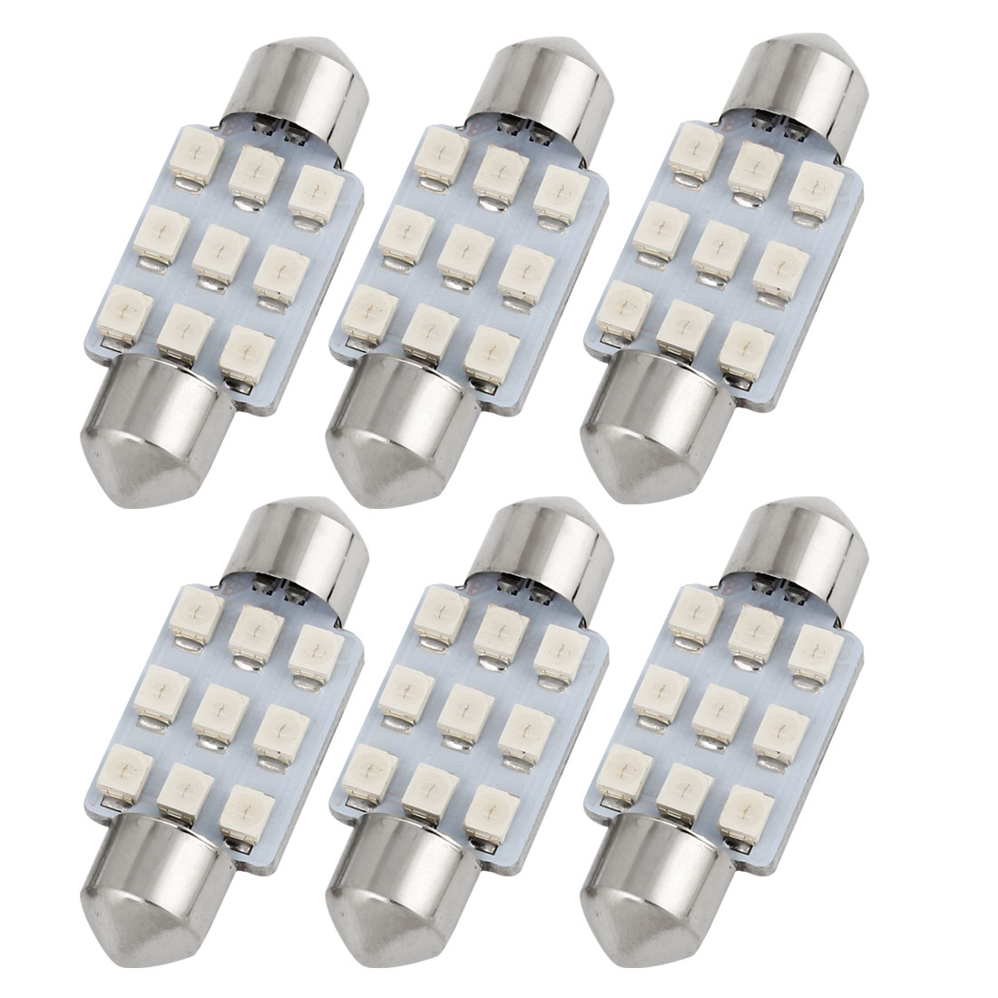 "6PCS 36mm 1.5"" 1210 SMD 9LED Green Festoon Dome Light Lamp DC 12V 6418 Internal"