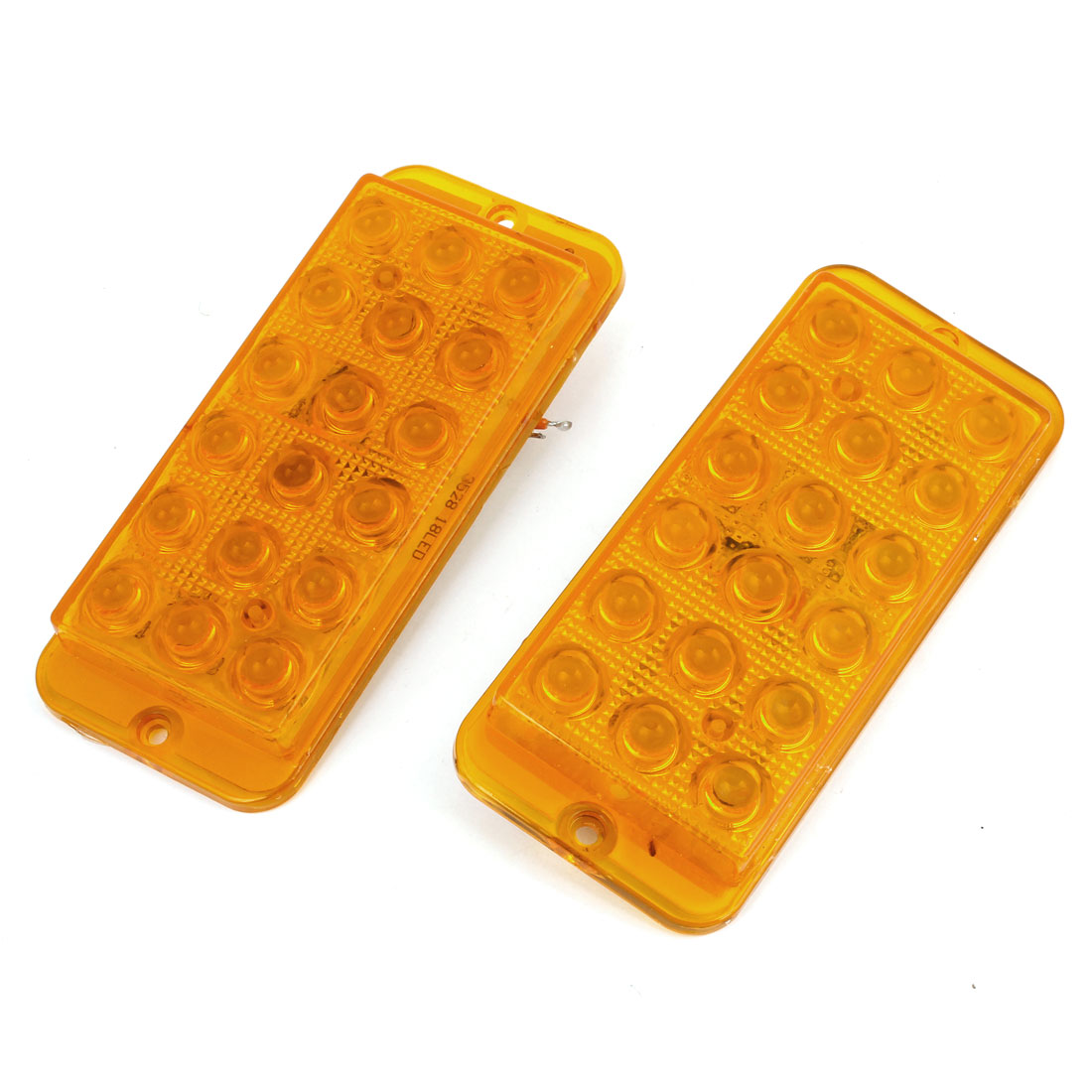 2 Pcs Adhesive Back Yellow 18 LED Plastic Decorative Light for Car